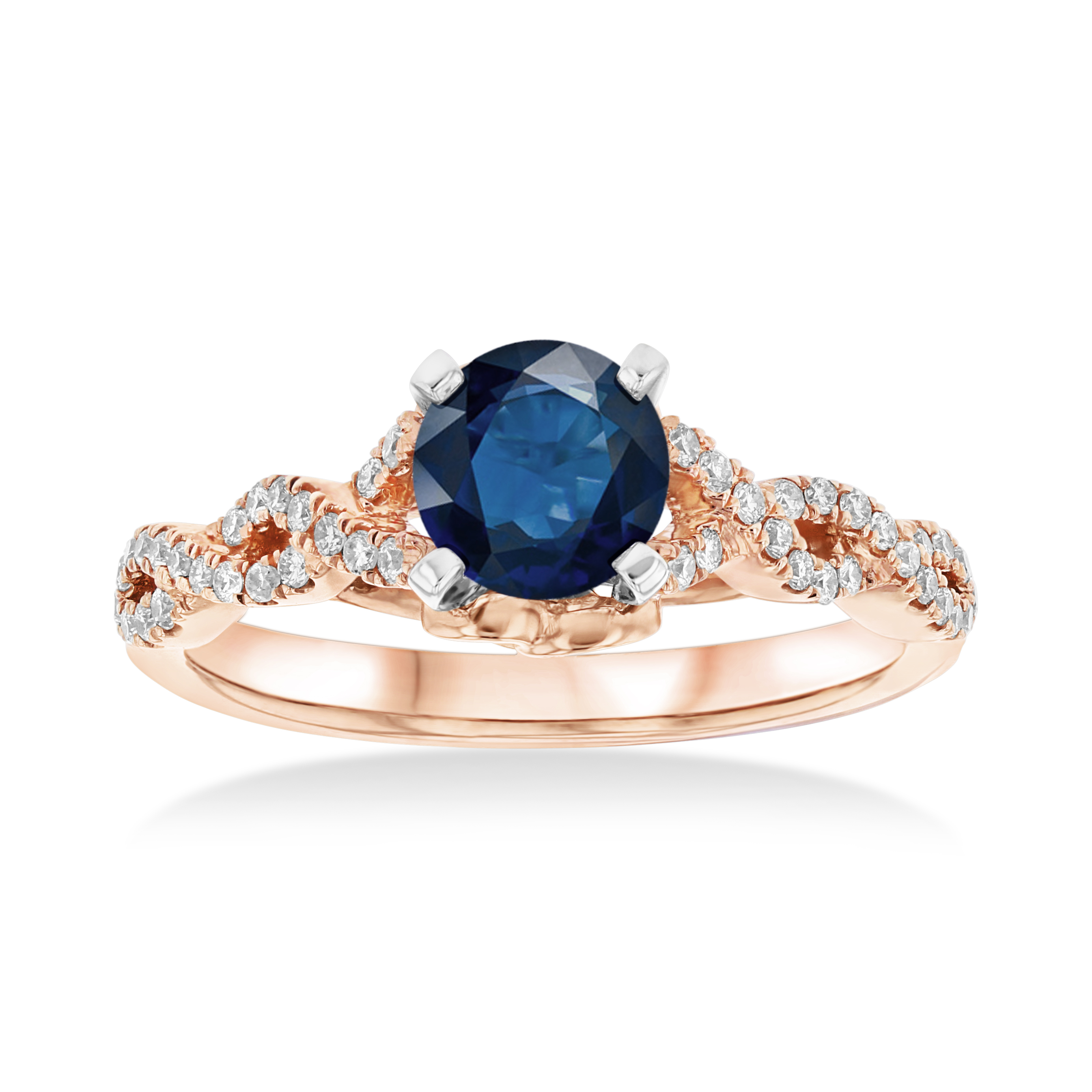 View 1.10ctw Sapphire and Diamond Engagement Ring in 14k Rose Gold