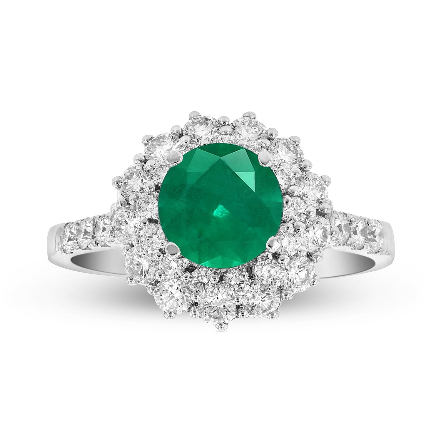 View 1.89ctw Emerald and Diamond Engagement Ring in 18k White Gold