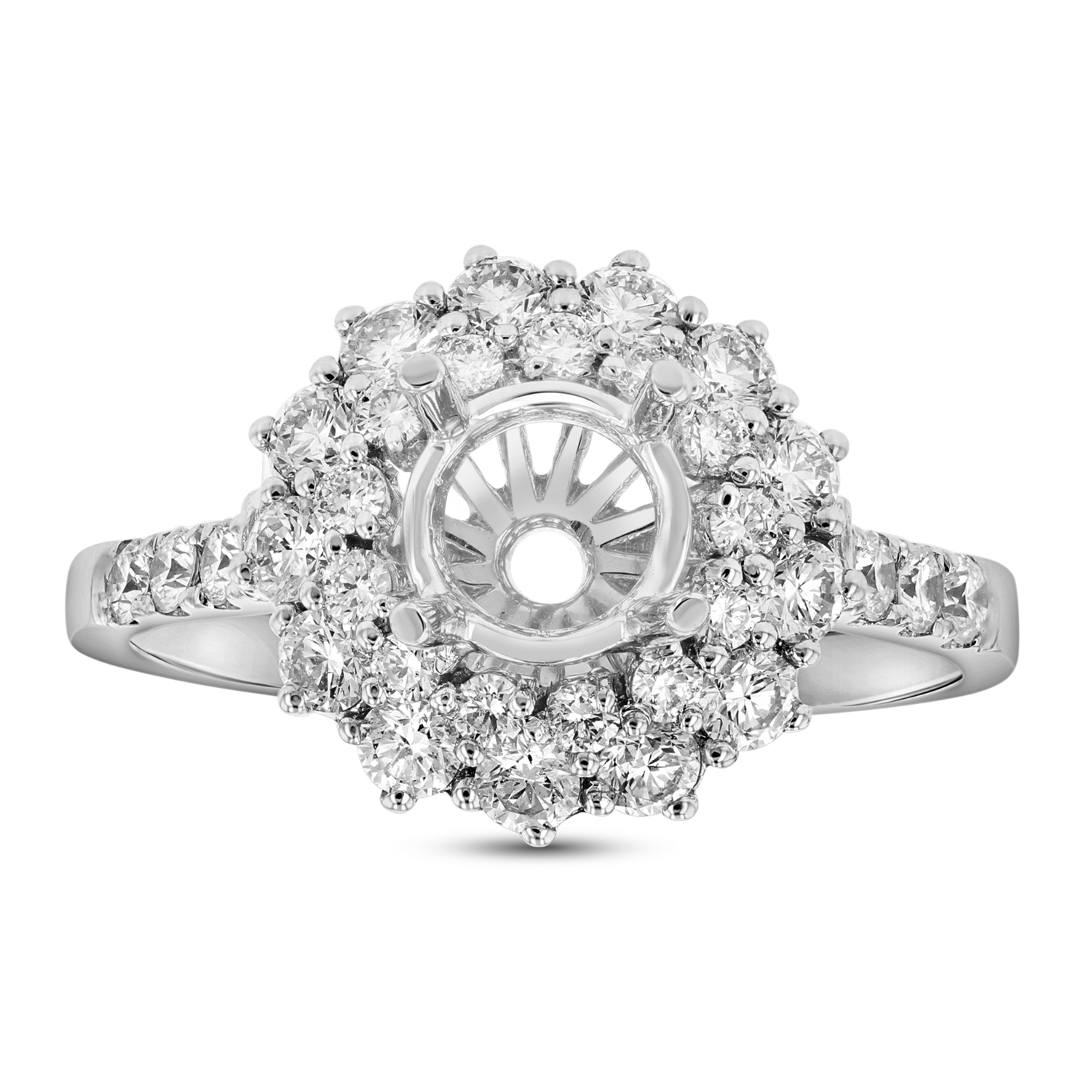 View 0.89ctw Diamond Semi Mount Engagement Ring in 18k White Gold