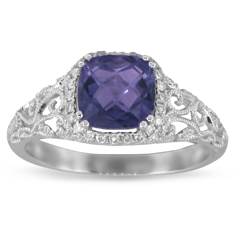 View 0.12ctw Diamond and Amethyst Fashion ring in 14k WG