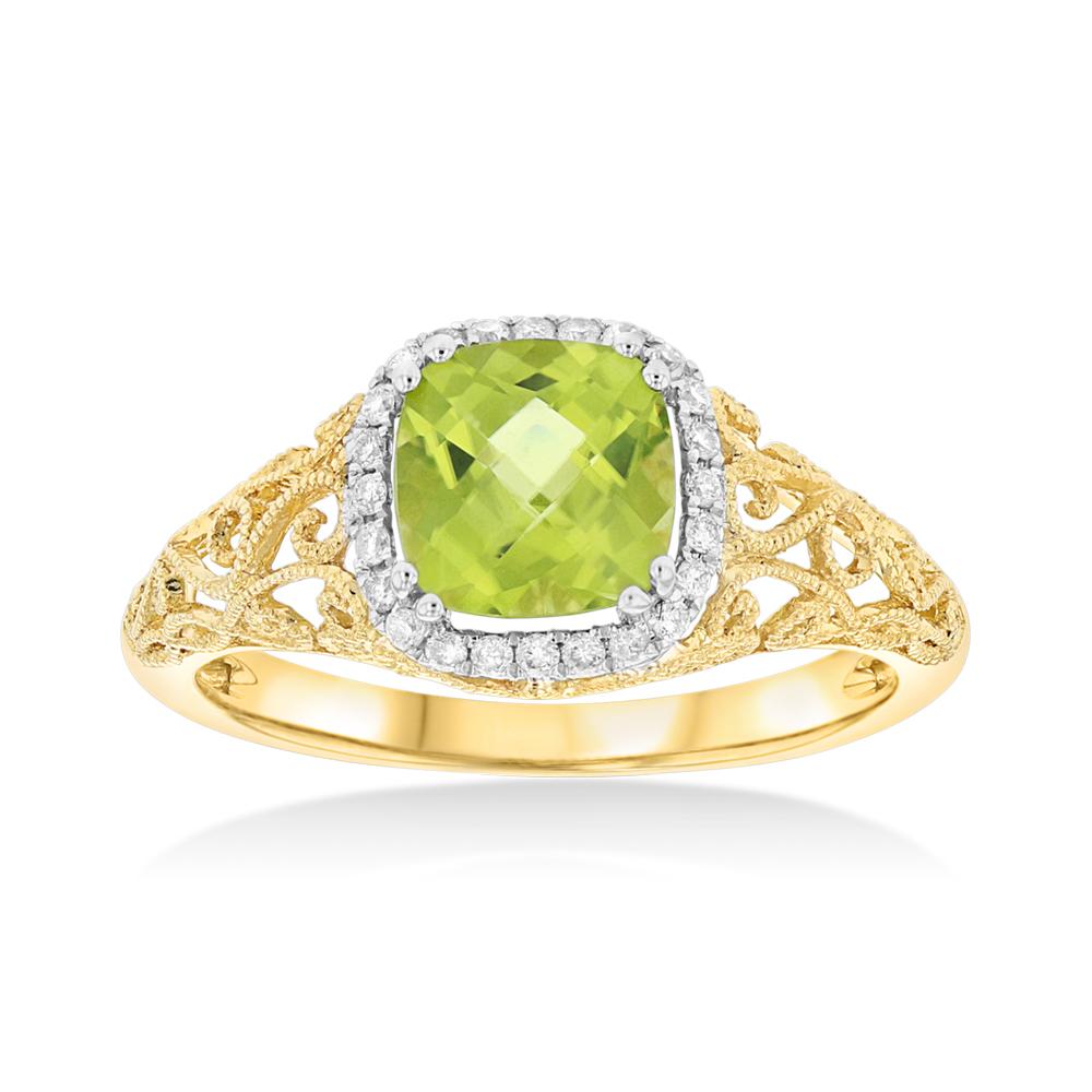 View 0.12ctw Diamond and Peridot Fashion Ring in 14k WG