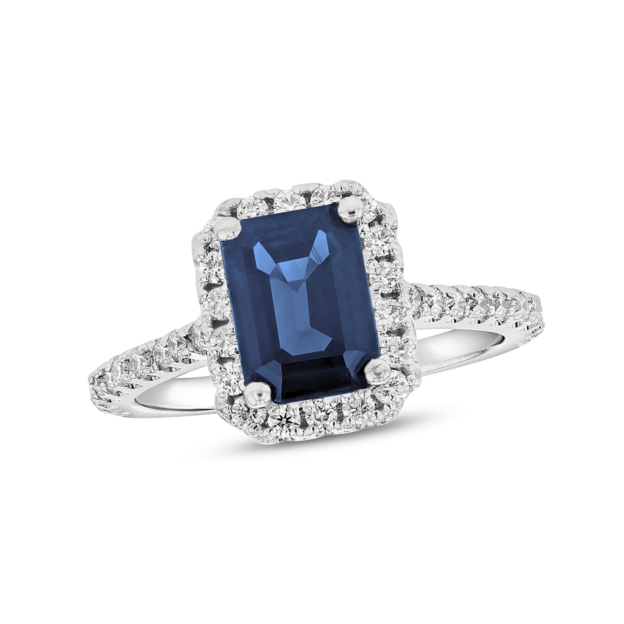 View 2.00ctw Diamond and Emerald Cut Sapphire Statement Ring in 14k White Gold