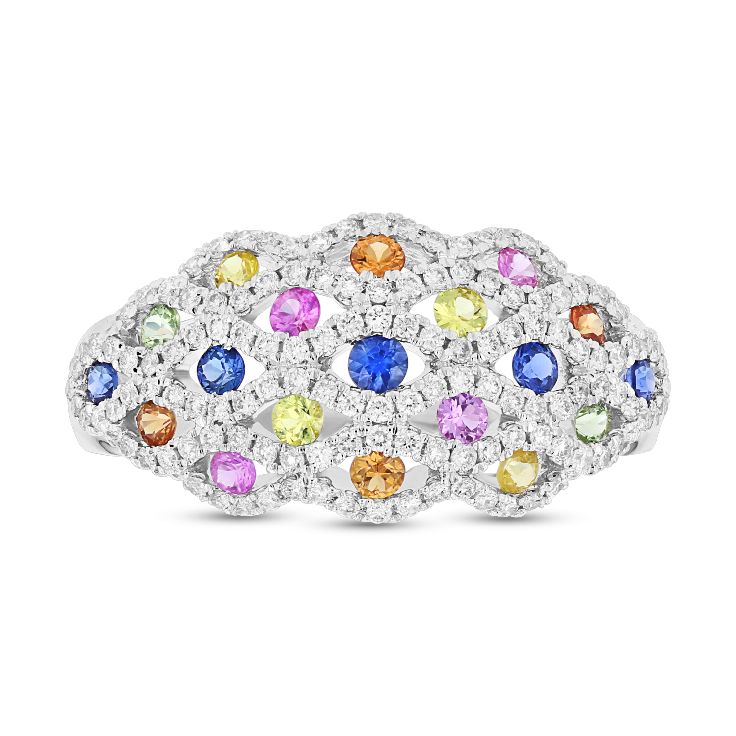 View 0.95ctw Diamond and Multi Sapphire Ring in 14k White Gold