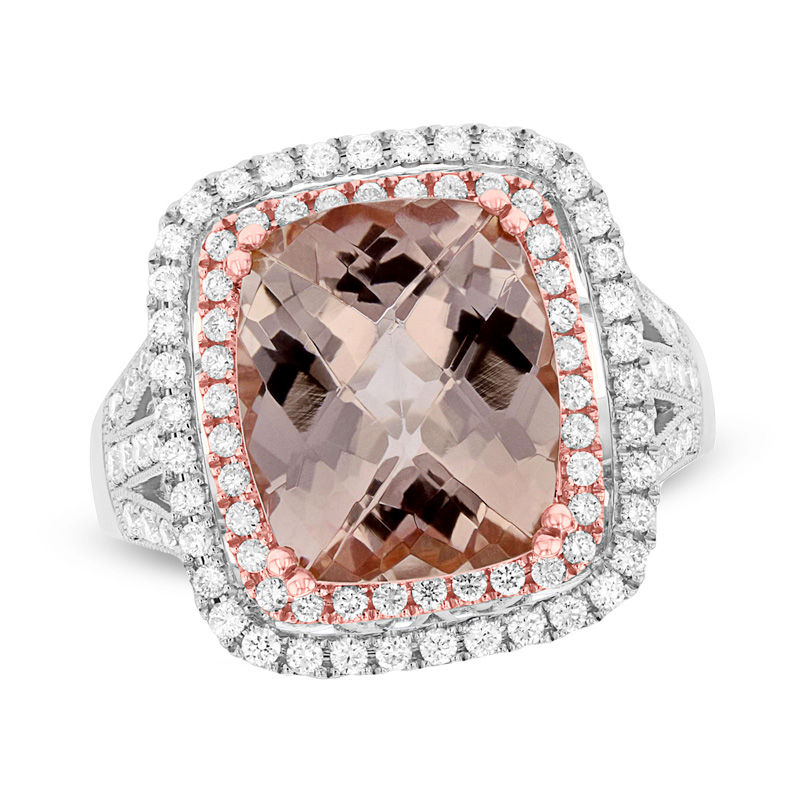 View 5.50ctw 12X10mm Cushion Cut Morganite and Diamond Ring in 14k White and Ross Gold