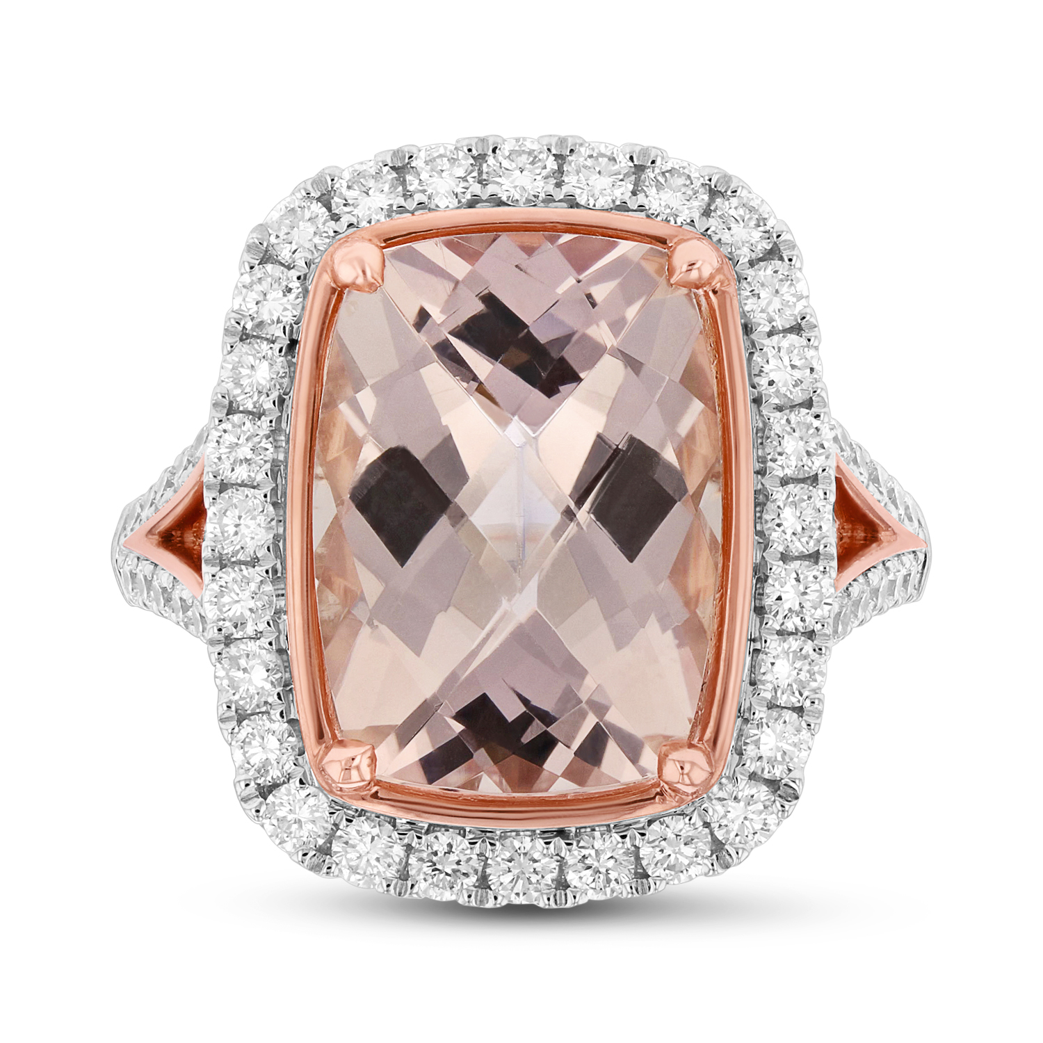View Diamond and 14X10mm Cushion Cut Morganite Ring in 14k Two Tone Gold