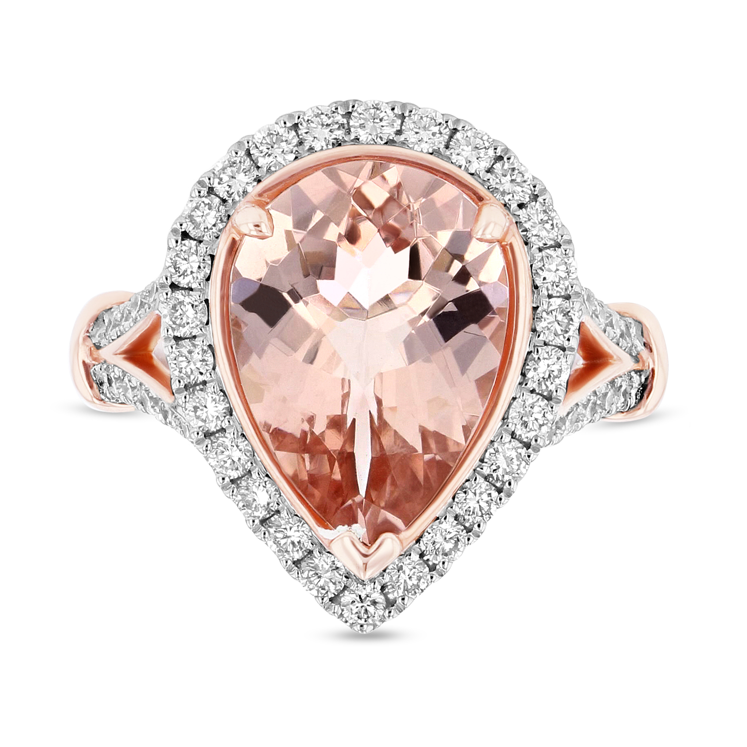View Diamond and 4.2ct Pear Shaped Morganite Ring in 14k Two Tone Gold