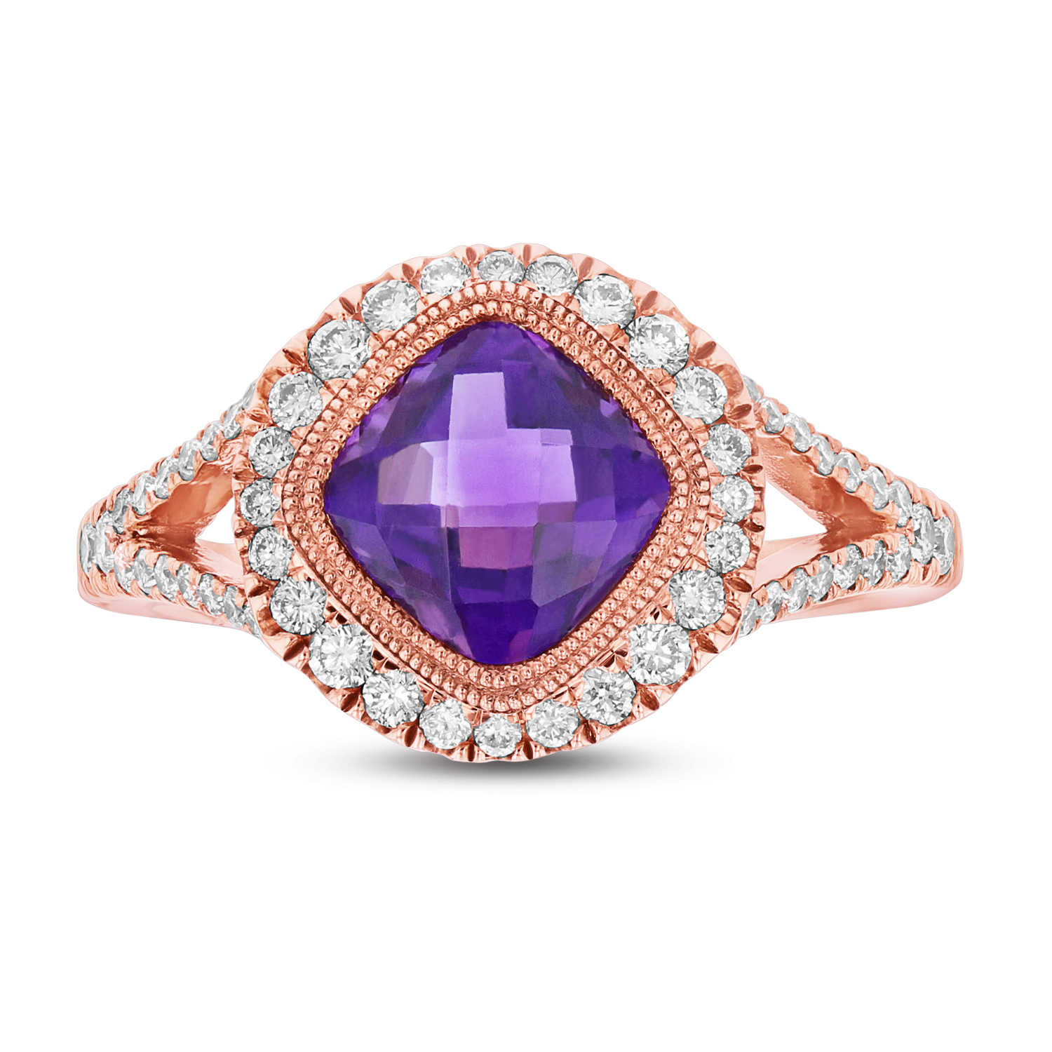 View Diamond and Amethyst ring in 14k Rose Gold