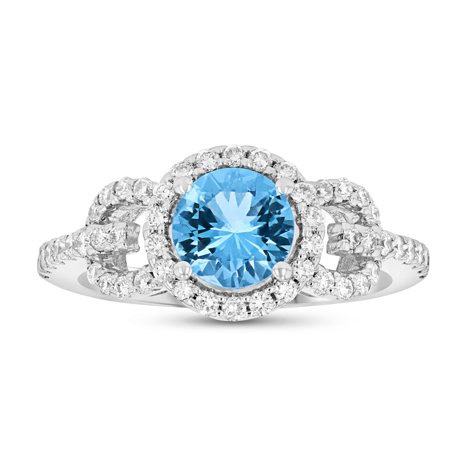 View Diamond and Blue Topaz Ring in 14k White Gold