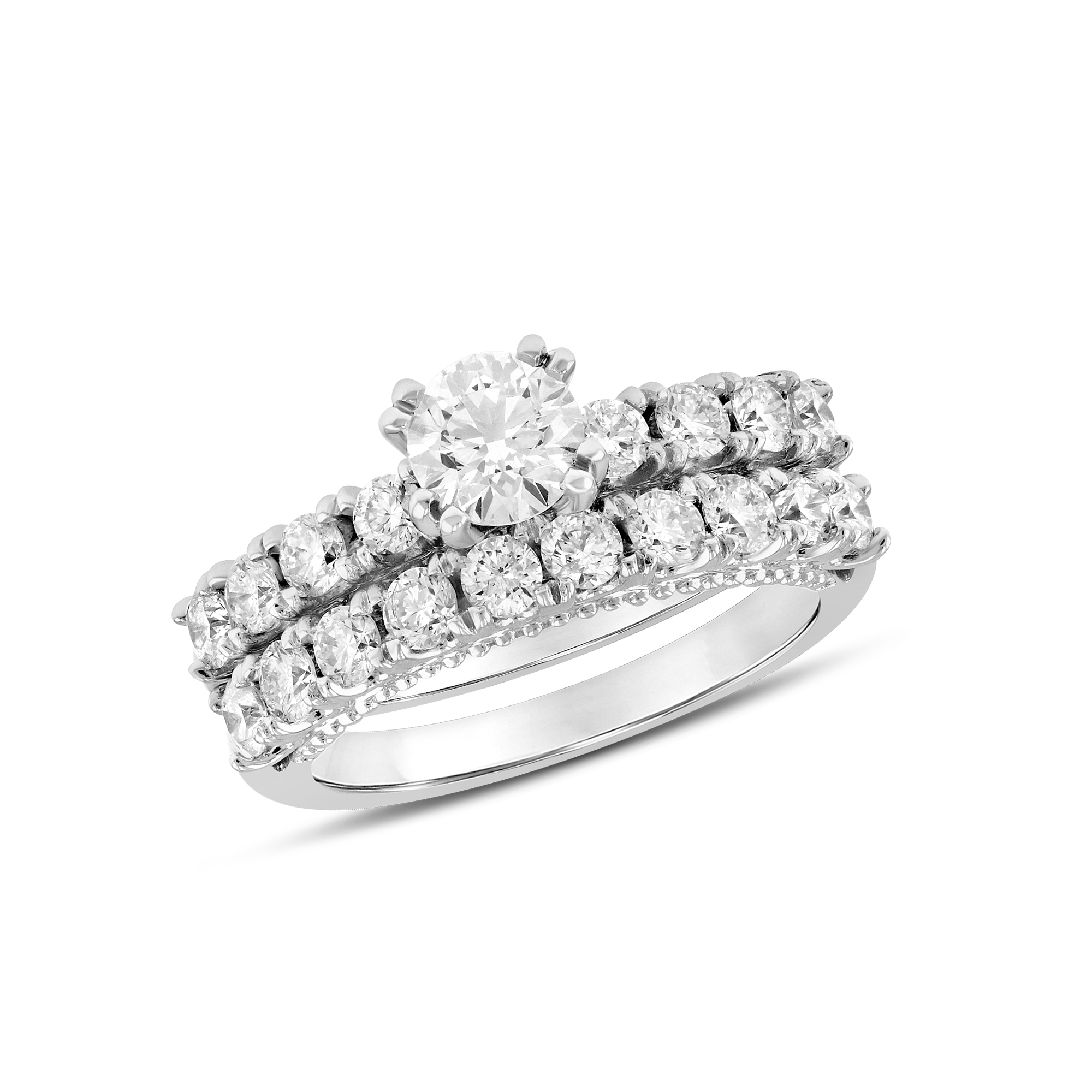 1.95ctw Diamond Engagement Ring Set in 14k White Gold