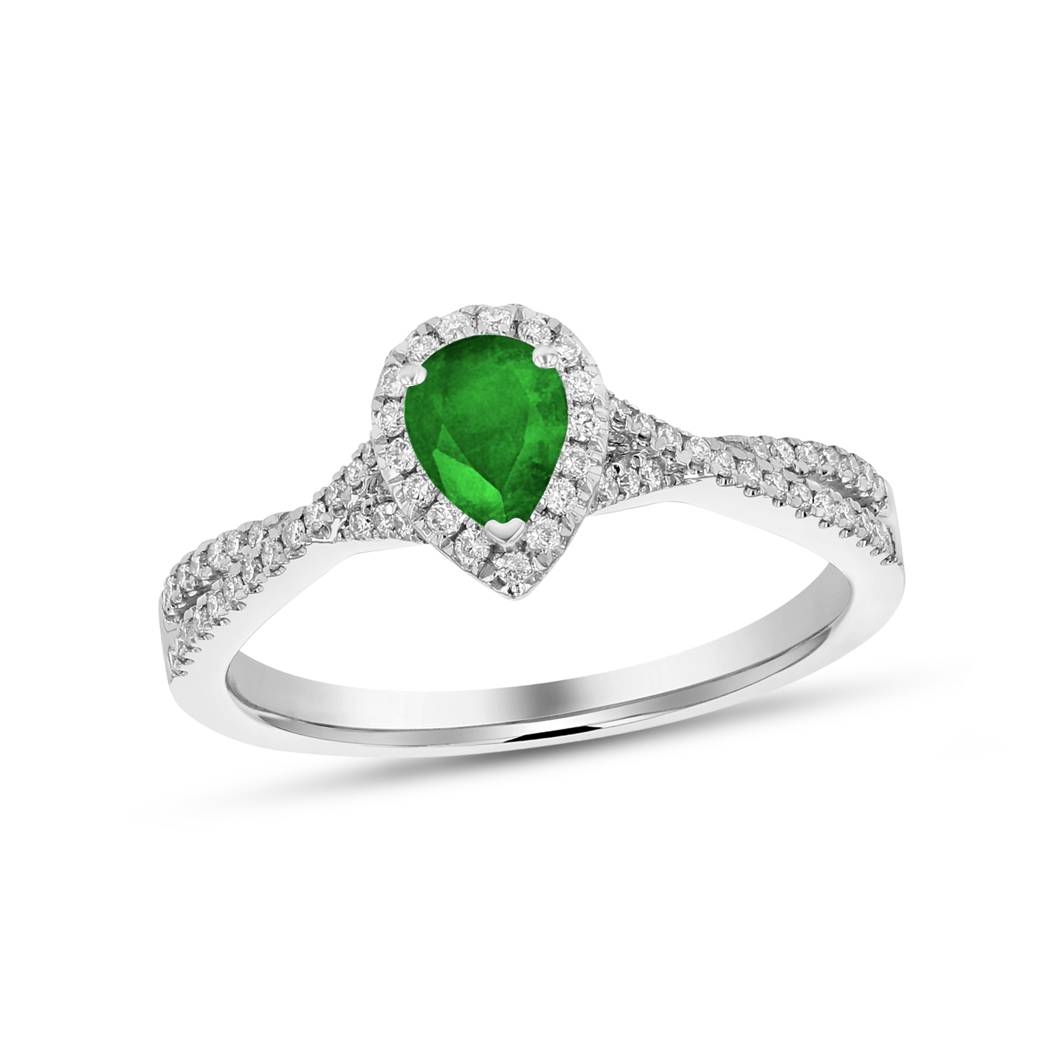 View 0.67ctw Diamnd and Pear Shaped Emerald Ring in 18k White Gold