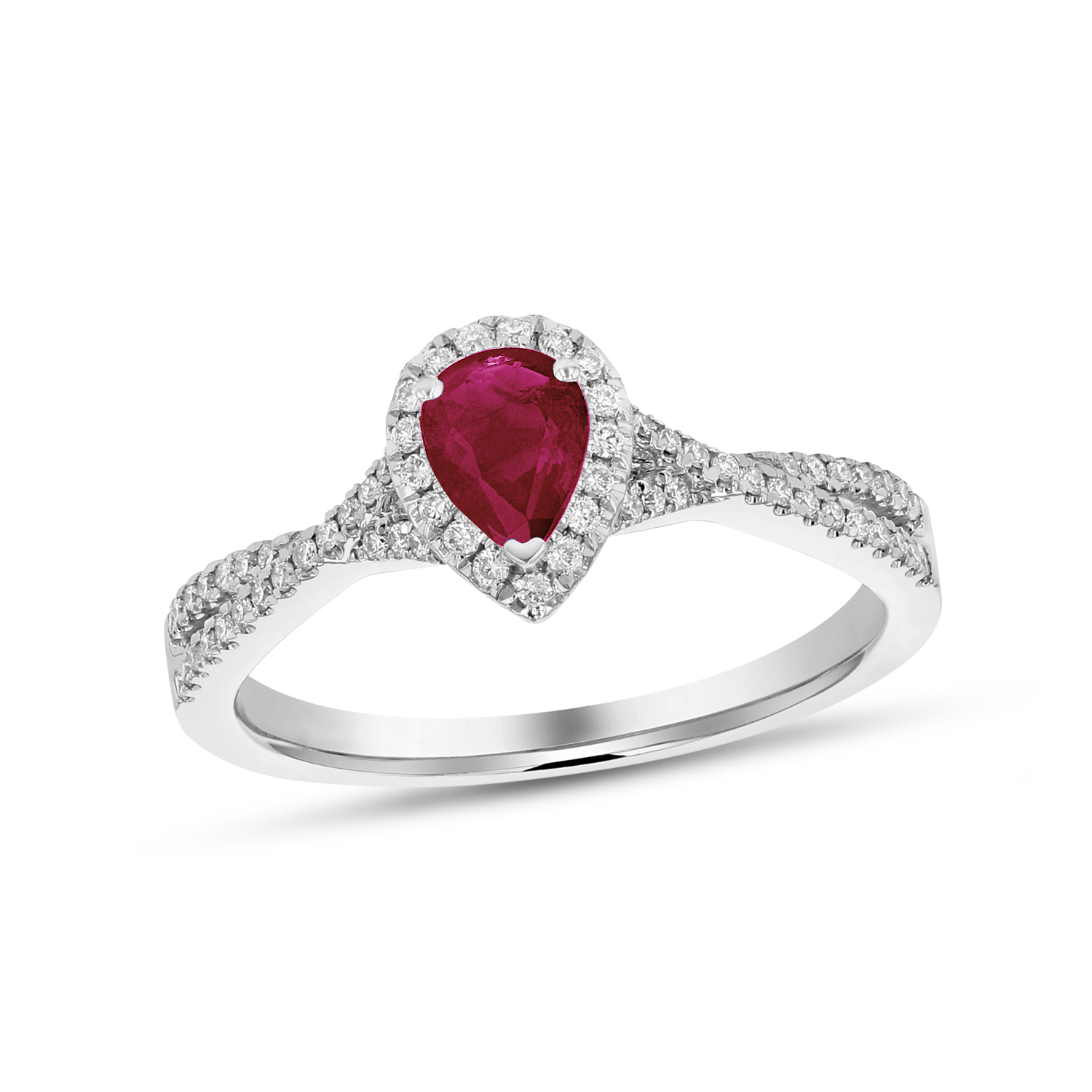 View 0.72ctw Diamnd and Pear Shaped Ruby Ring in 18k White Gold