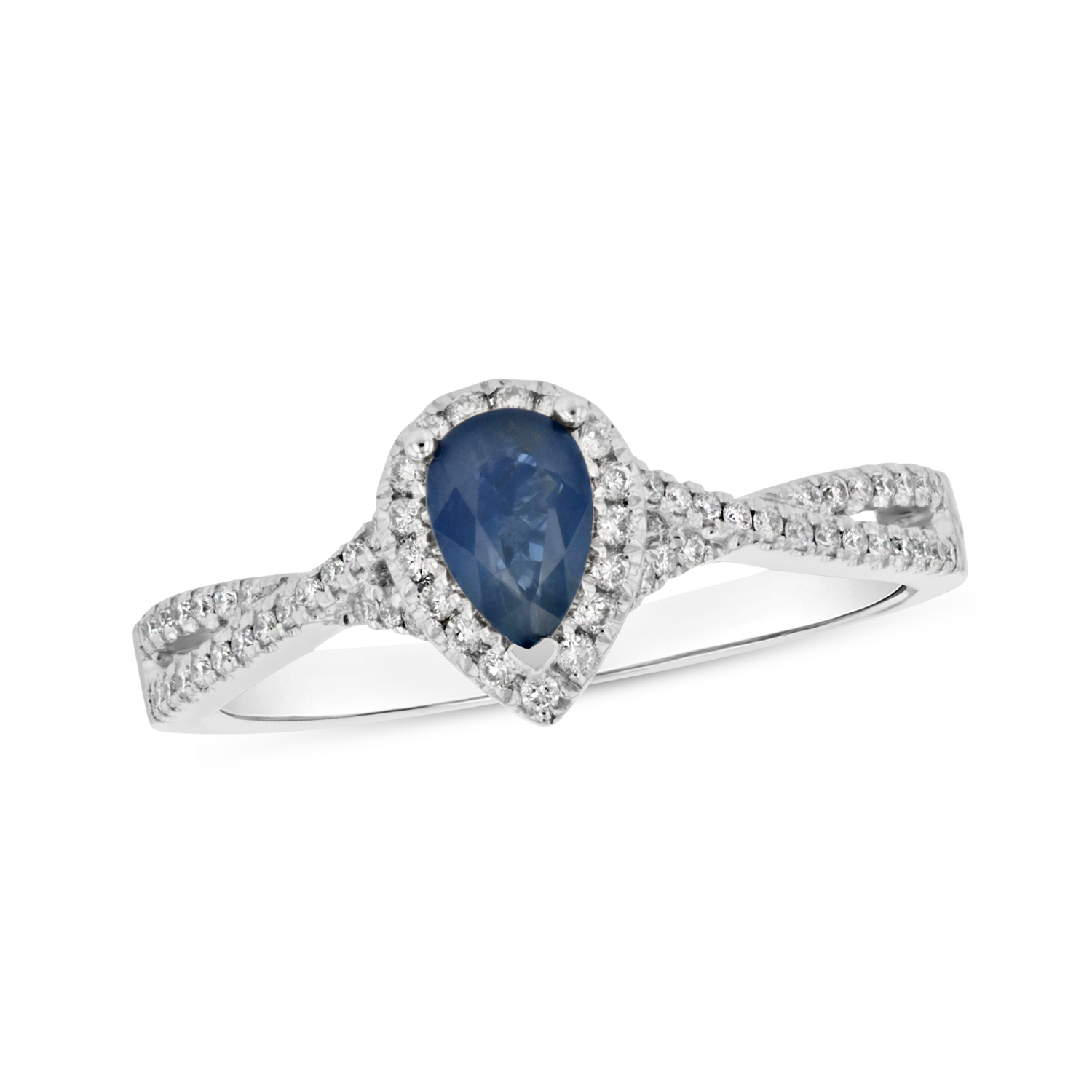 View 0.77ctw Diamnd and Pear Shaped Sapphire Ring in 18k White Gold