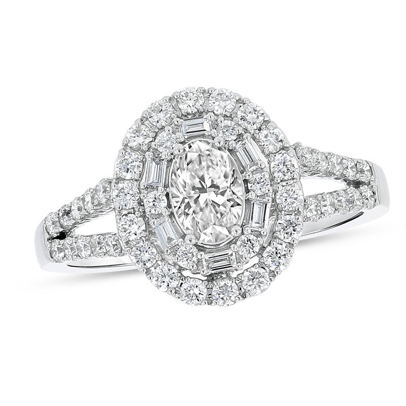 View 1.00ctw Oval Diamond Engagment Ring in 18k White Gold