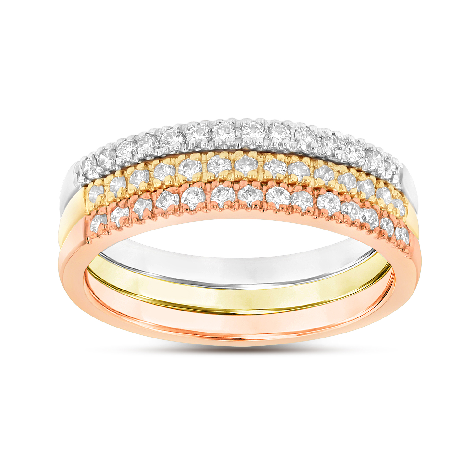 0.45ctw Diamond Band Stackable  in 14k Tri Color old