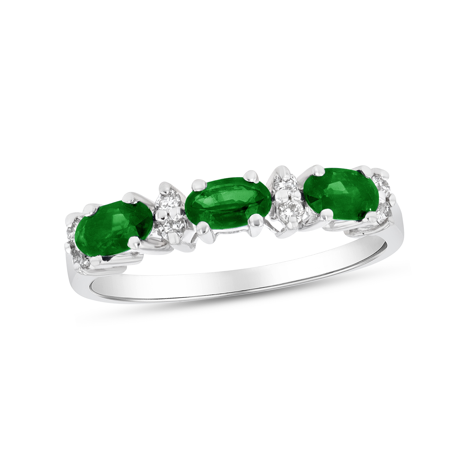 View 0.75ctw Diamond and Emerald Band in 14k White Gold
