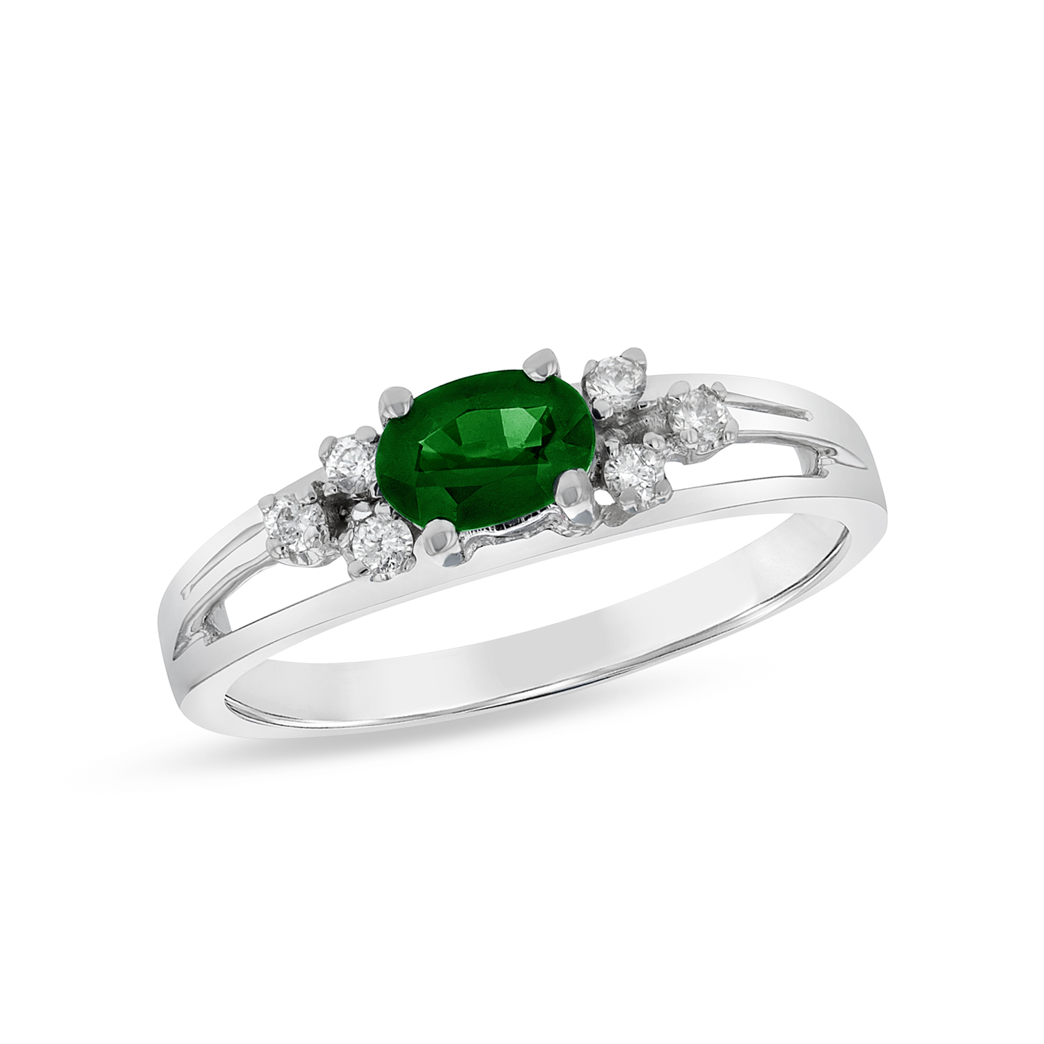 View 0.50ctw Diamond and Emerald fashion Band in 14k White Gold