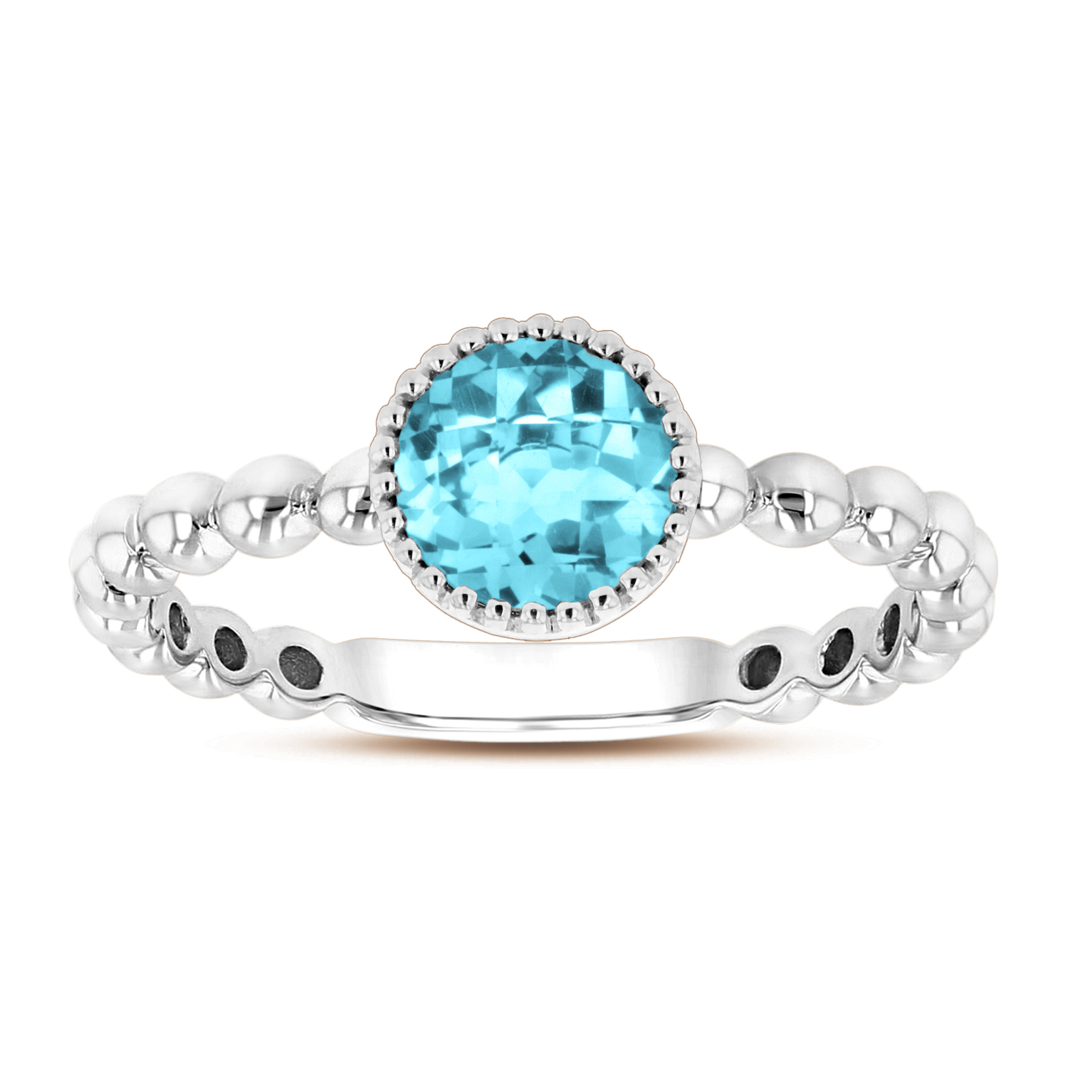View 6mm Round Blue Topaz Ring in 14k Gold