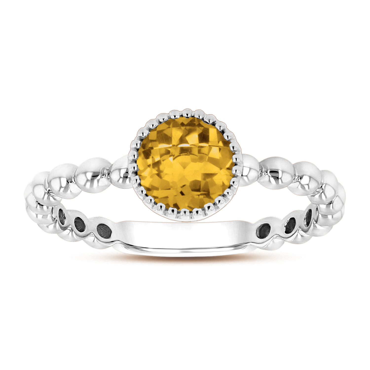 View 6mm Round Citrine Ring in 14k Gold