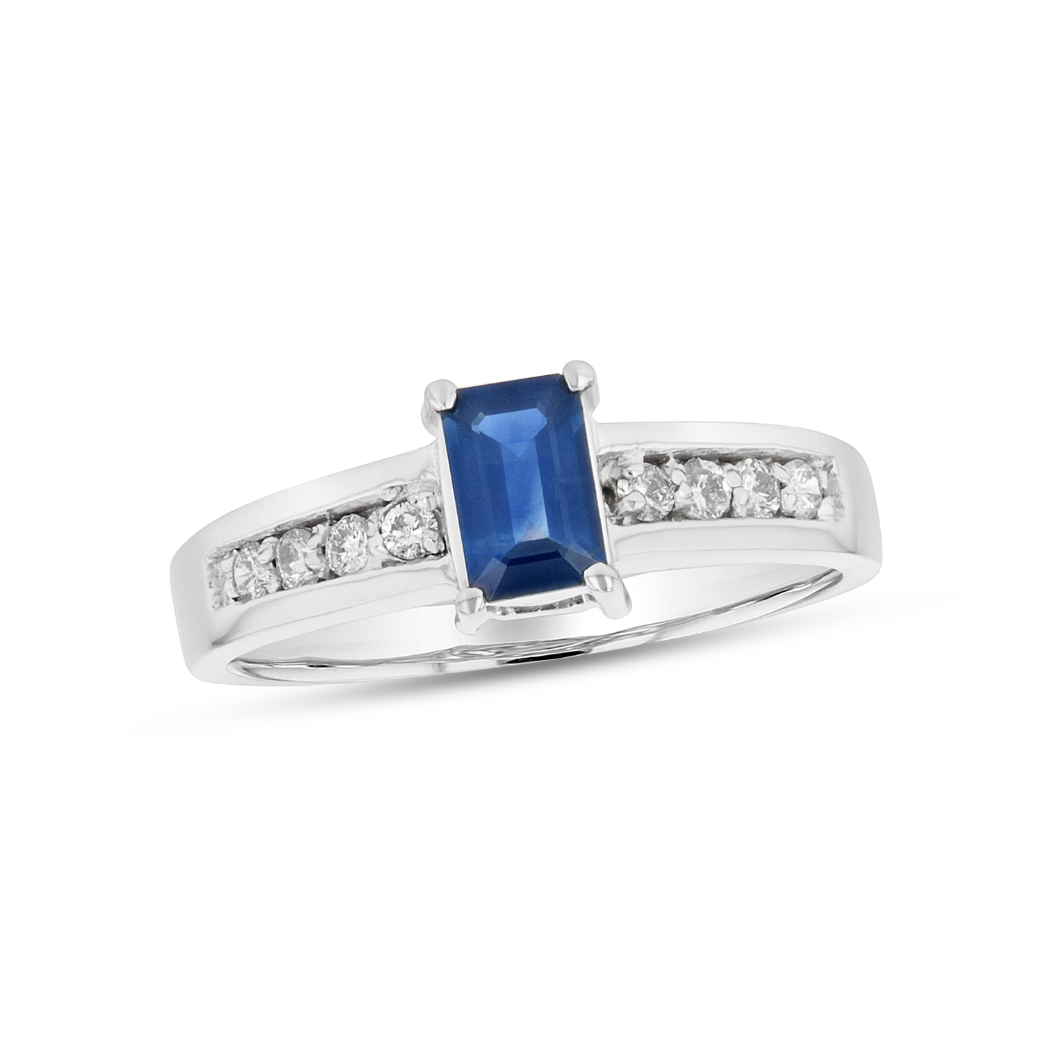 View 0.81ctw Diamond and Sapphire Ring in 14k White Gold