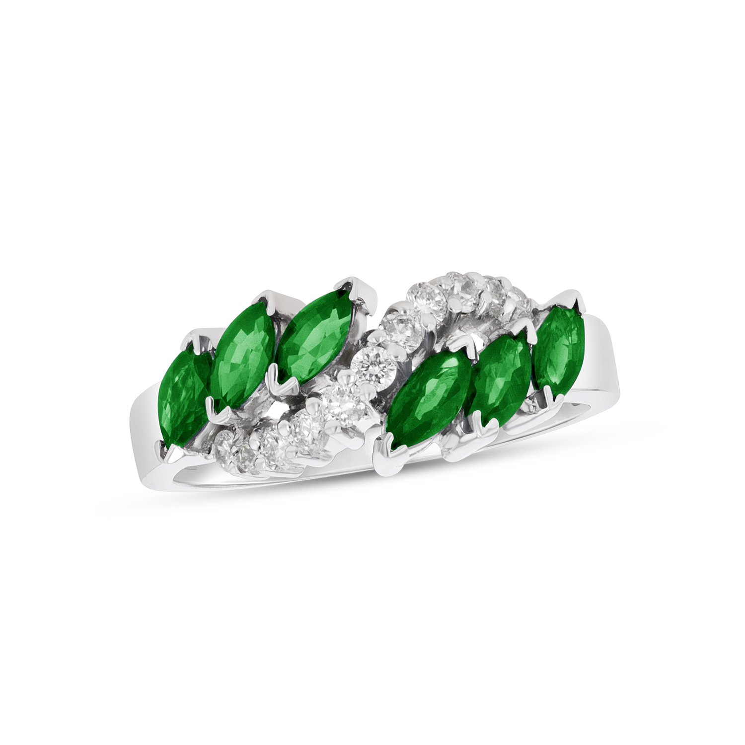 View 1.15ctw Diamond and Emerald Fashion Ring in 14k White Gold