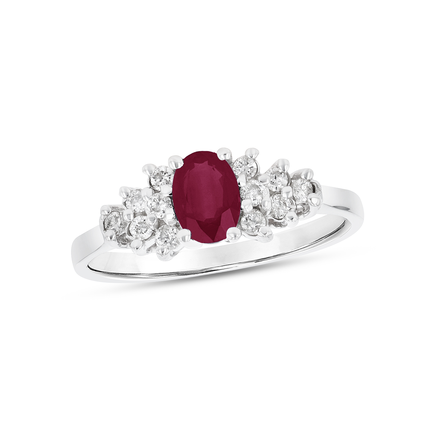 View 0.63ctw Diamond and Ruby Ring in 14k White Gold