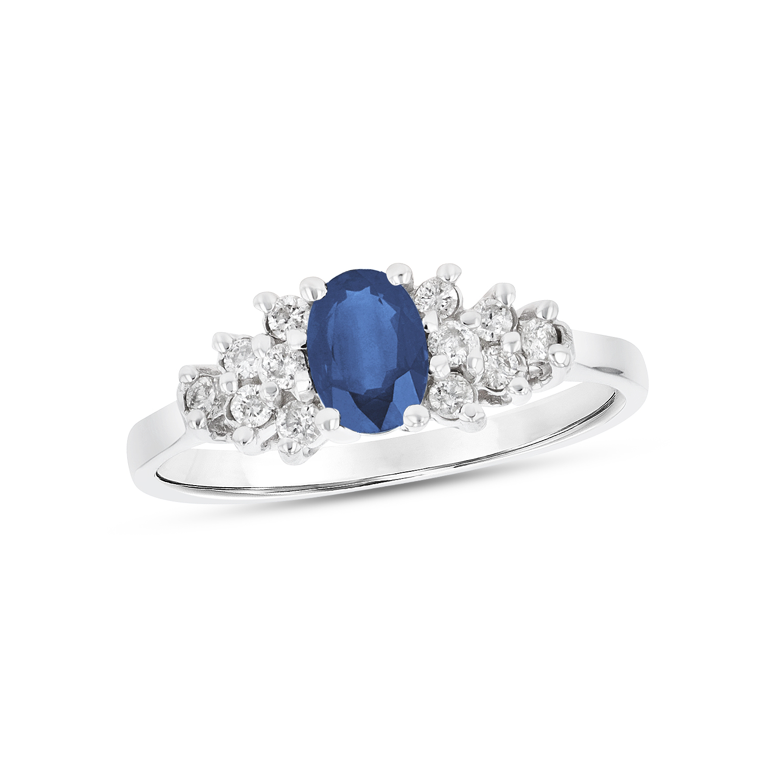 View 0.68ctw Diamond and Sapphire Ring in 14k White Gold