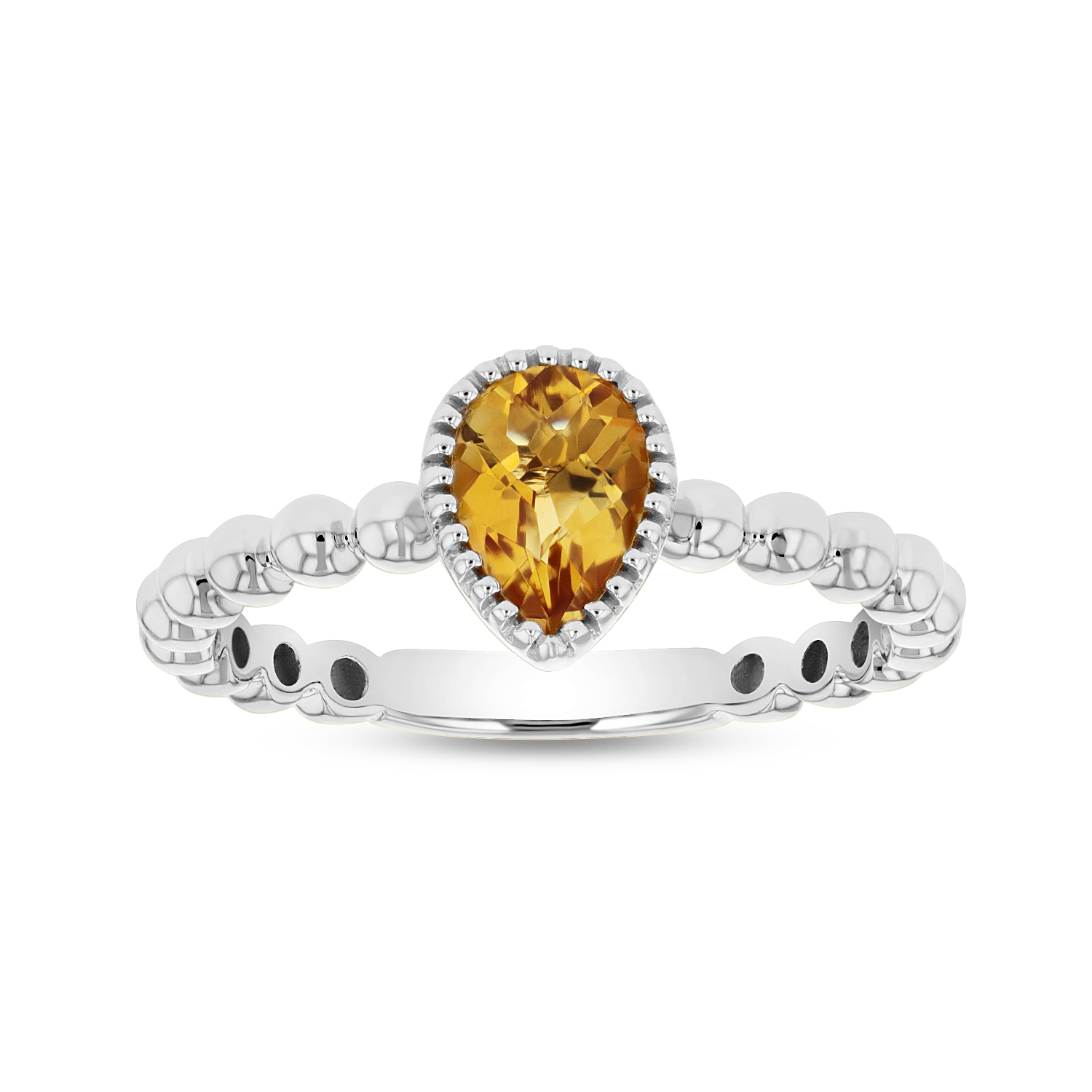 View 7x5mm Pear Shape Citrine Ring in 14k Gold