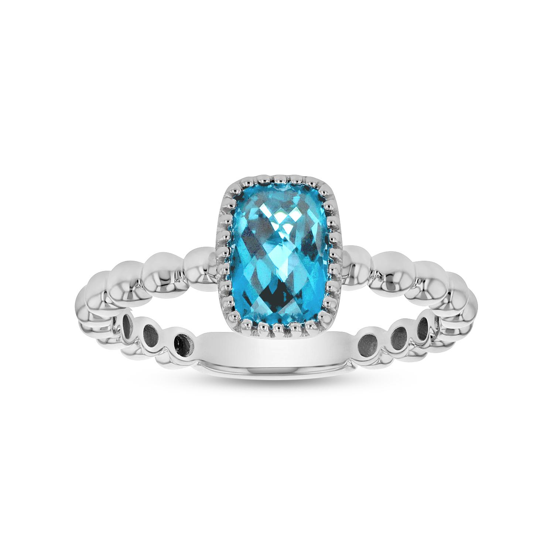 View 7x5mm Cushion Cut Blue Topaz Ring in 14k Gold