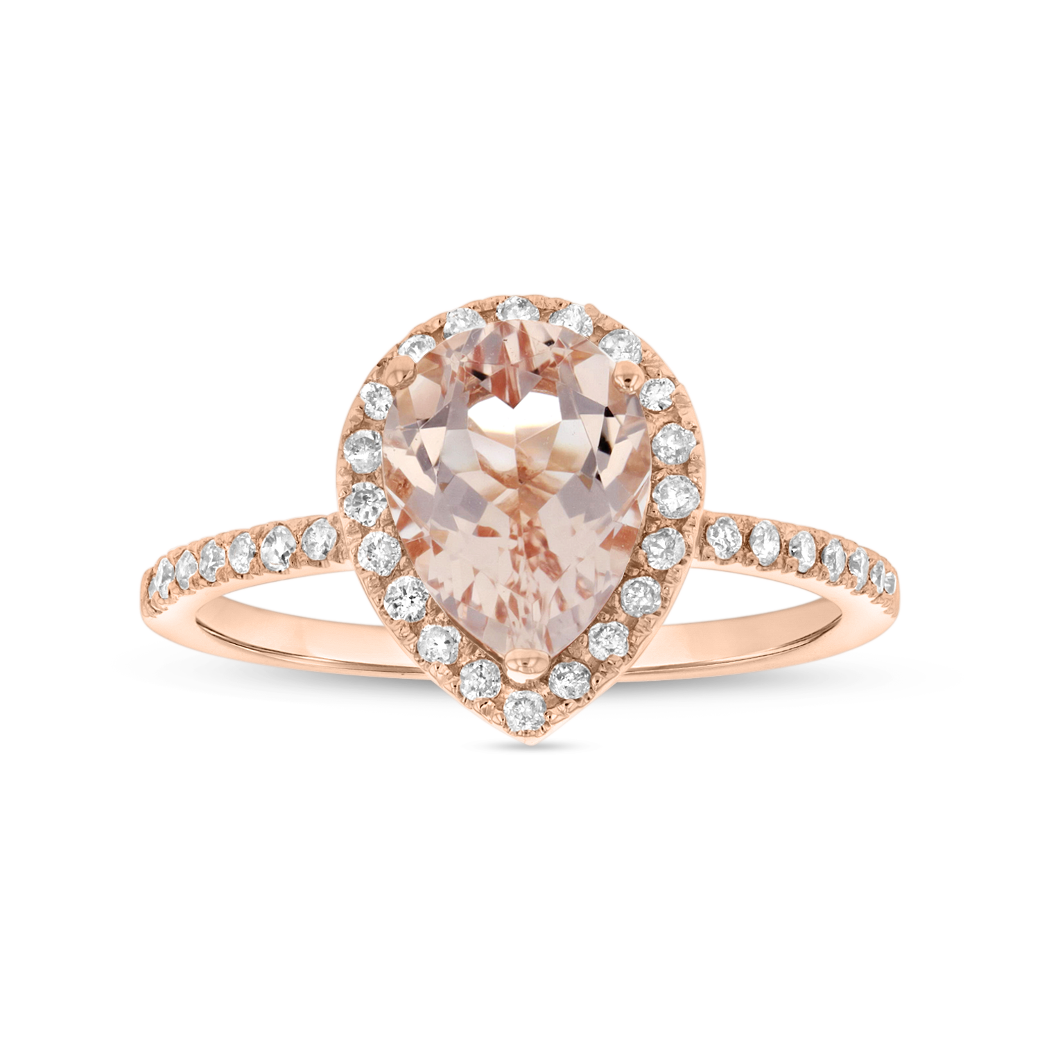 View 7X5 mm Pear Shaped Monganite and  Diamond Ring in 14k Rose Gold