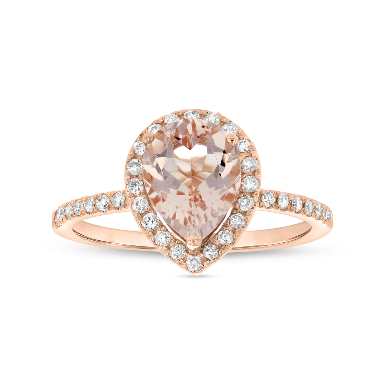 View 9X7 mm Pear Shape Morganite and Diamond Ring in 14k Rose Gold