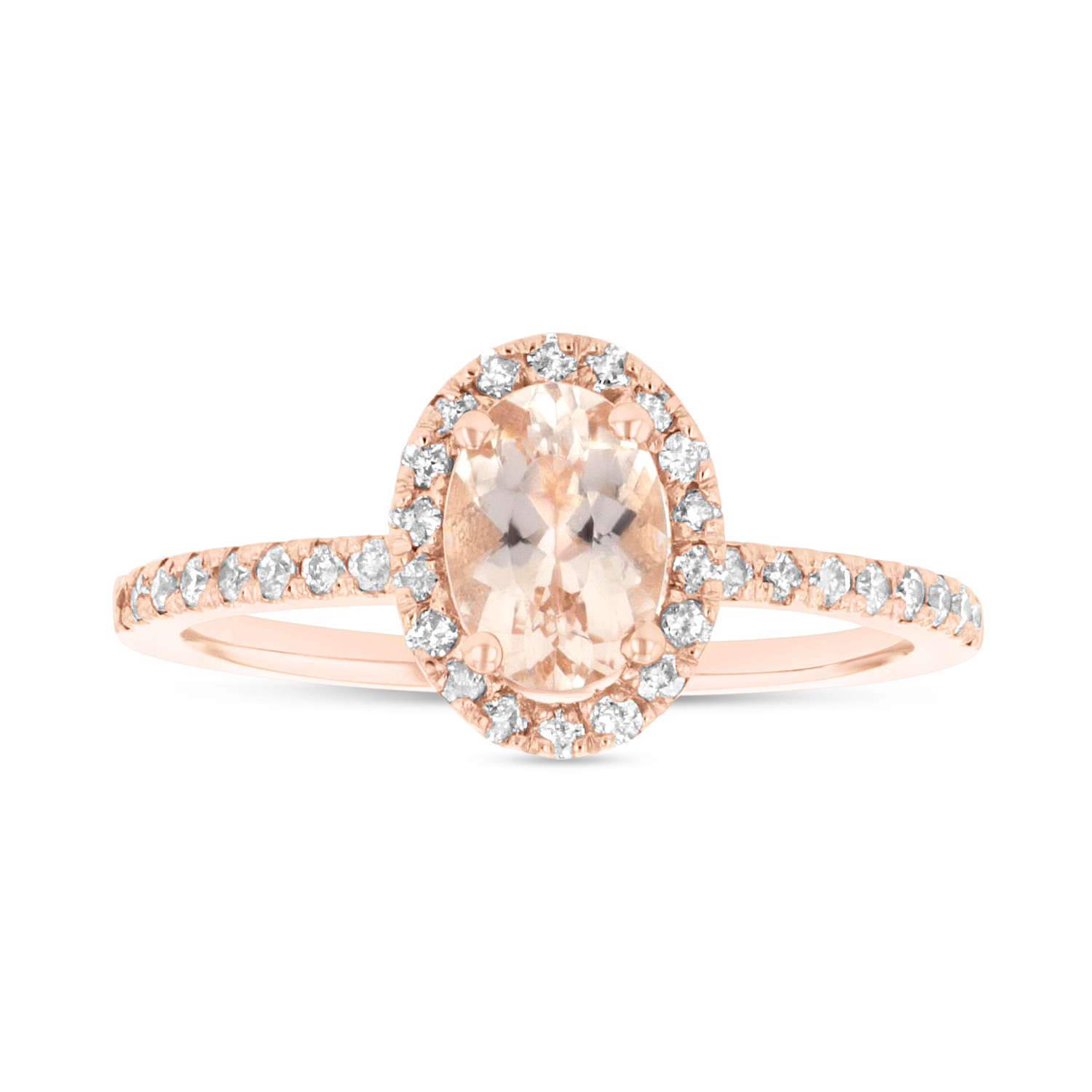 View 7X5 mm Oval Morganite and Diamond Ring in 14k Rose Gold