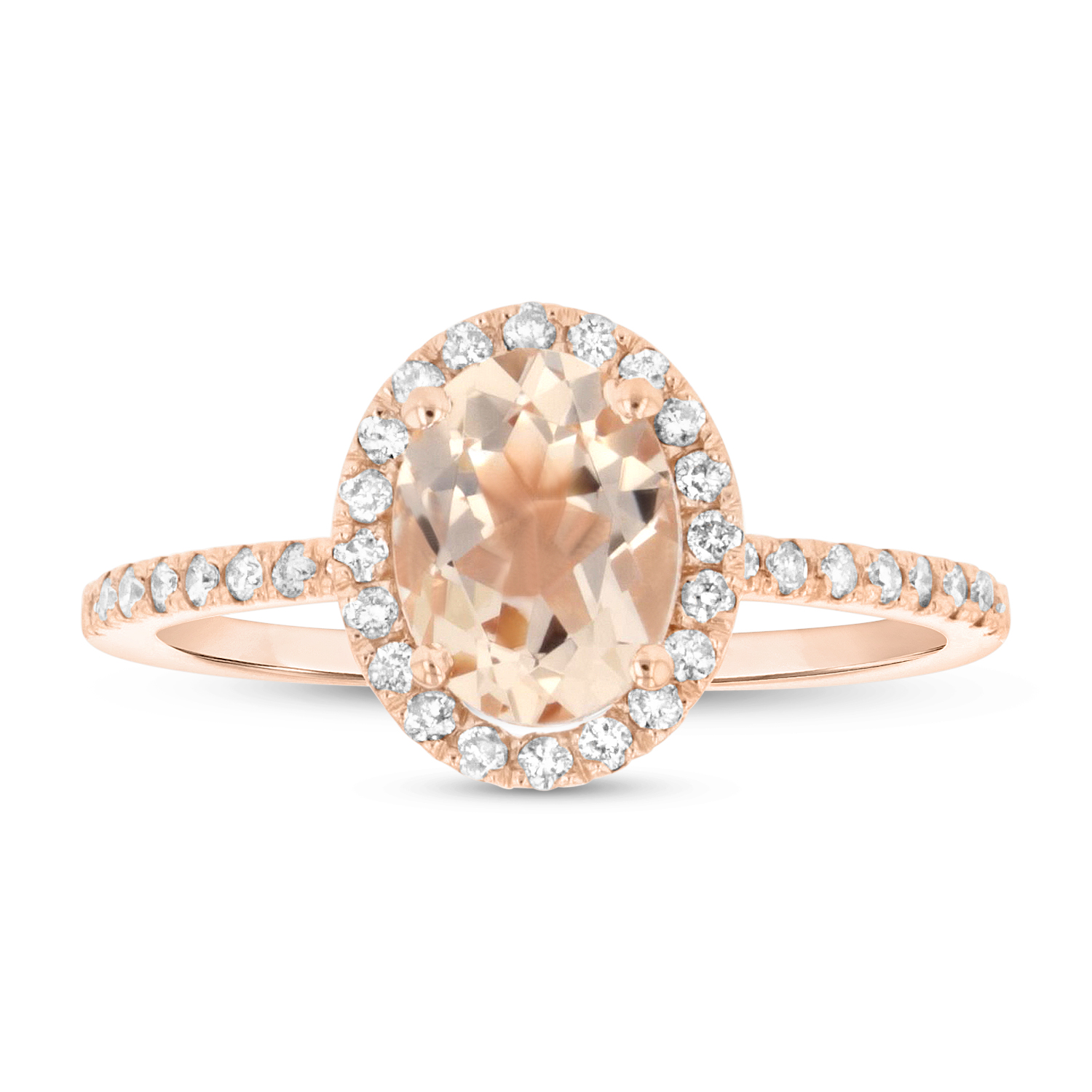 View 8X6 mm Oval Morganite and Diamond Ring in 14k Rose Gold