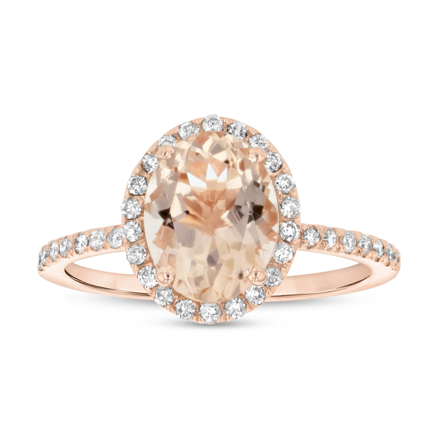 View 9X7 mm Oval Morganite and Diamond Ring in 14k Rose Gold