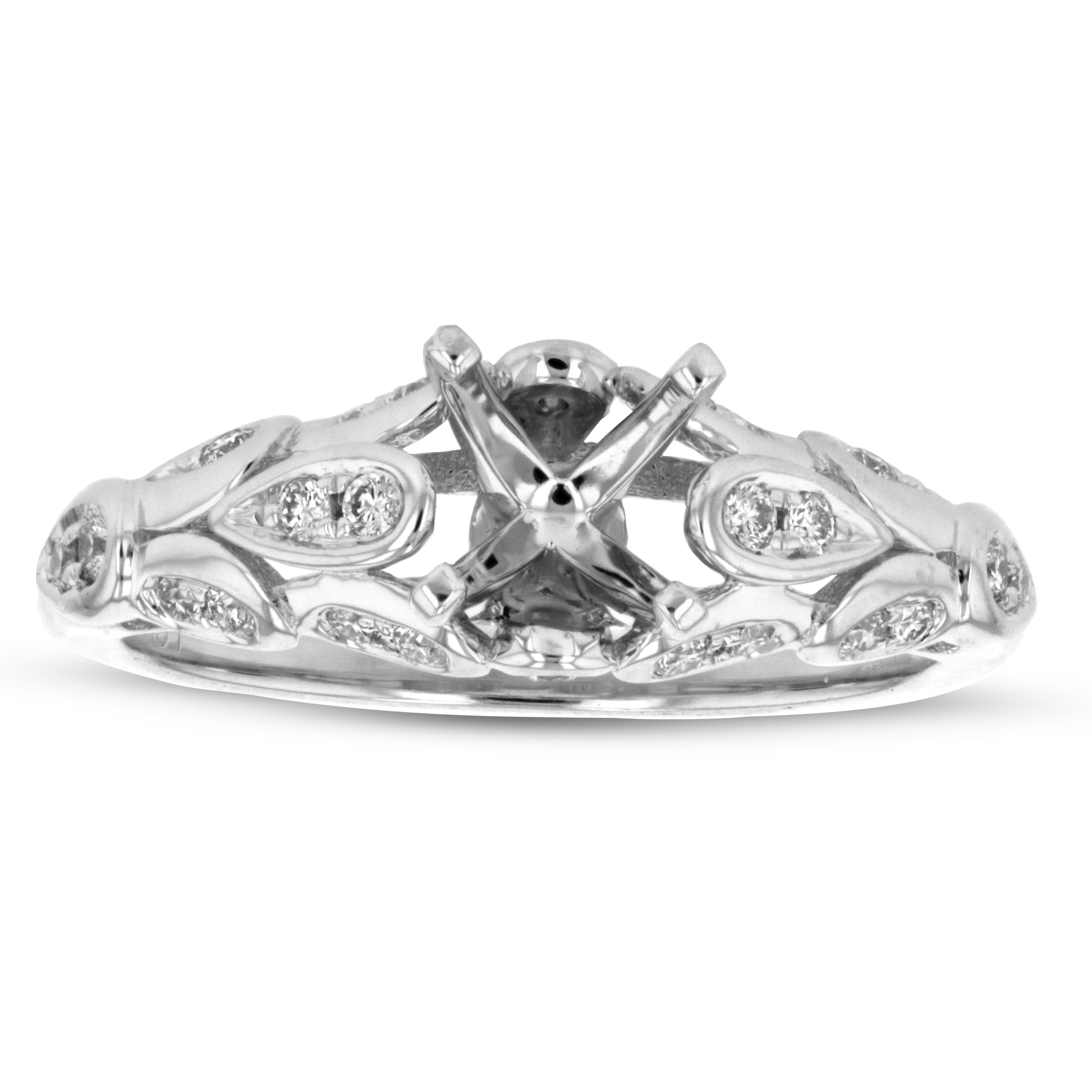 View 0.22ctw Diamond Semi Mount Ring in 14k White Gold