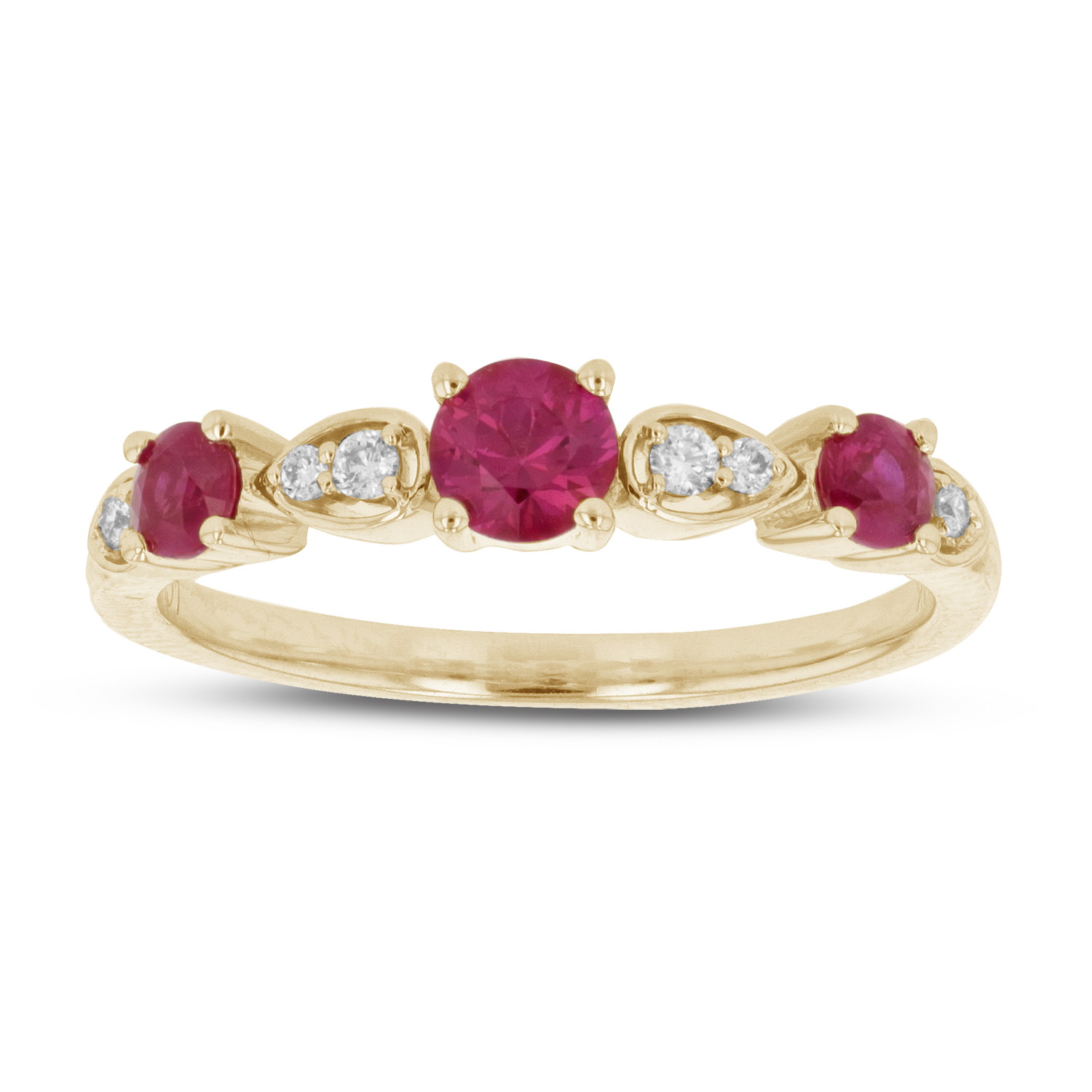 View 0.66ctw Diamond and Ruby Band in 14k Yellow Gold