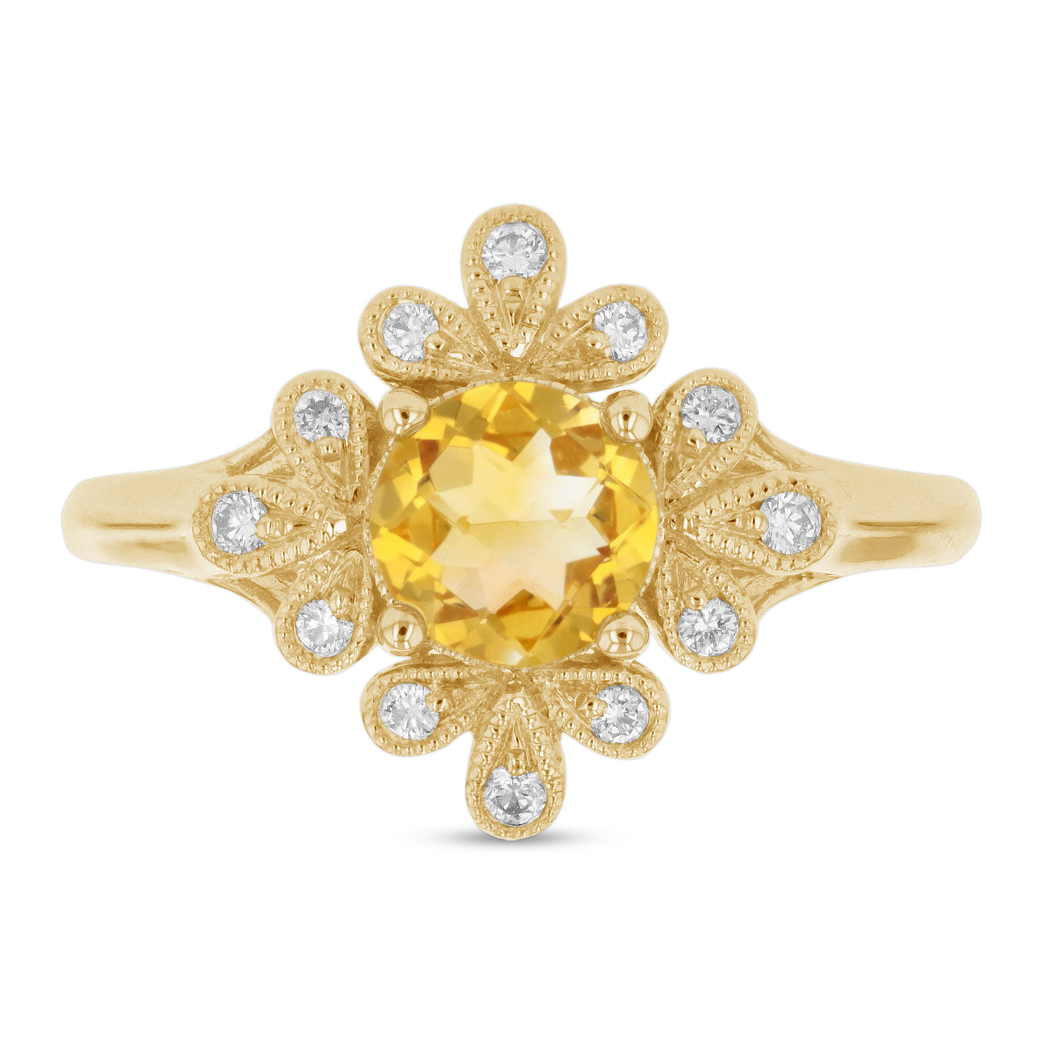 View 0.84ctw Diamond and Citrin Ring in 14k Yellow Gold
