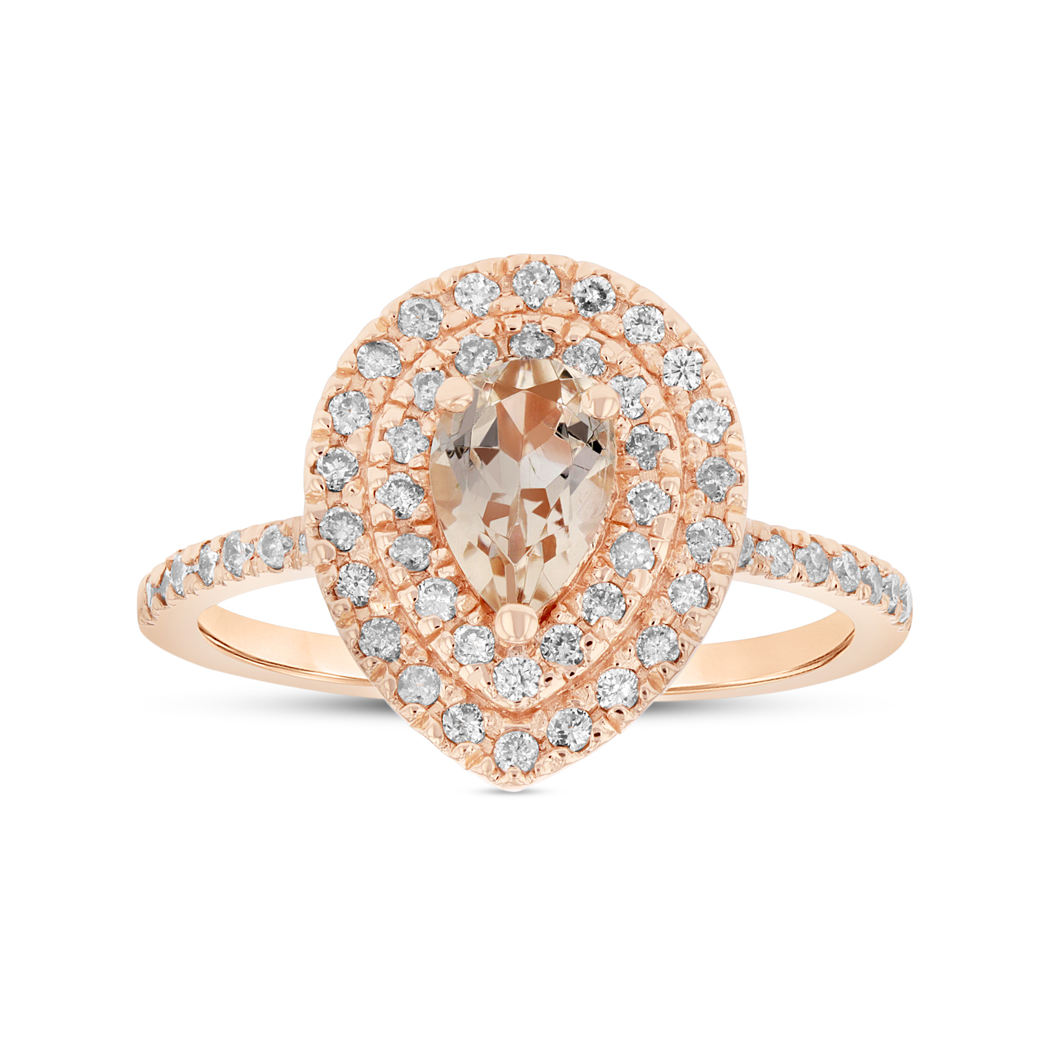 View 7X5 mm Pear Shape Morganite and Diamond Ring in 14k Rose Gold Double Row Halo