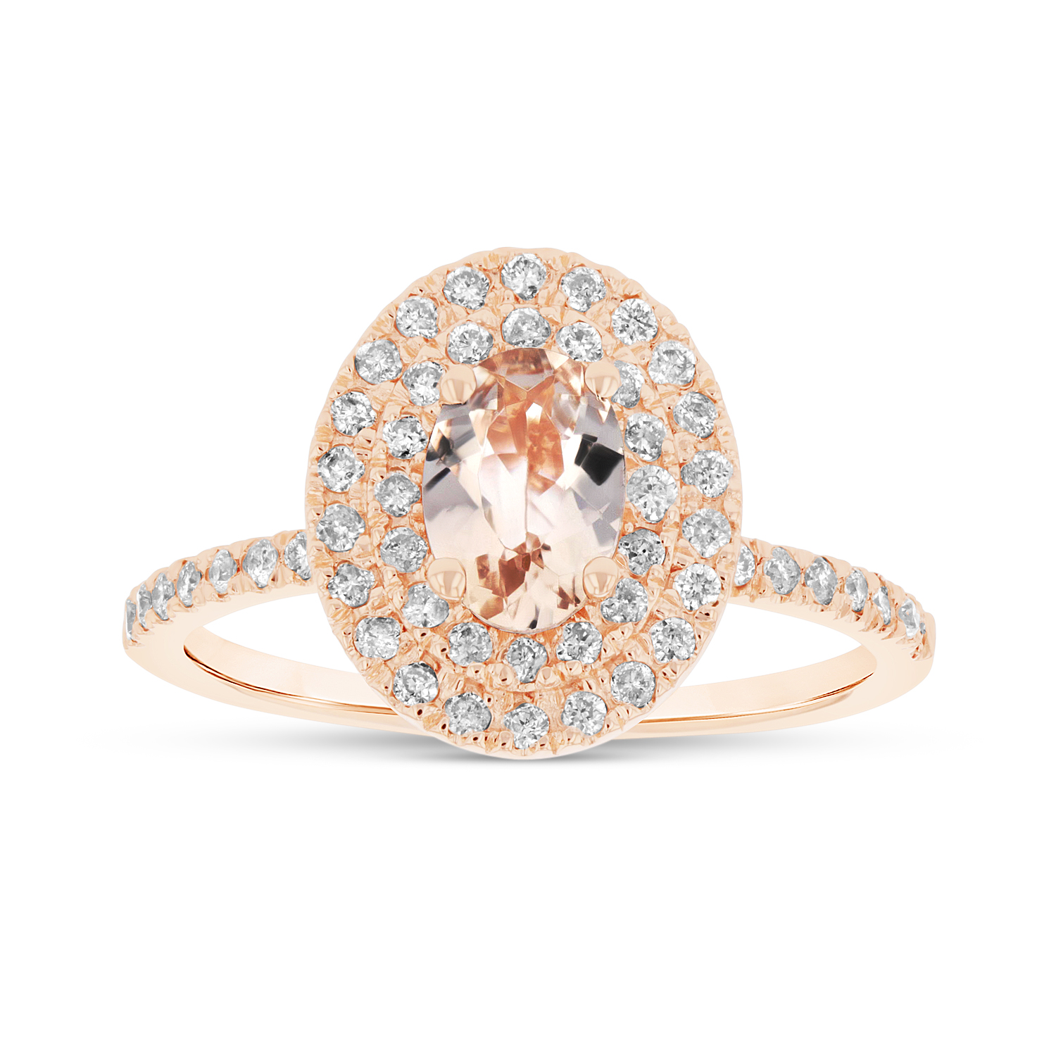 View 7X5 mm Oval Morganite and Diamond Ring in 14k Rose Gold Double Row Halo
