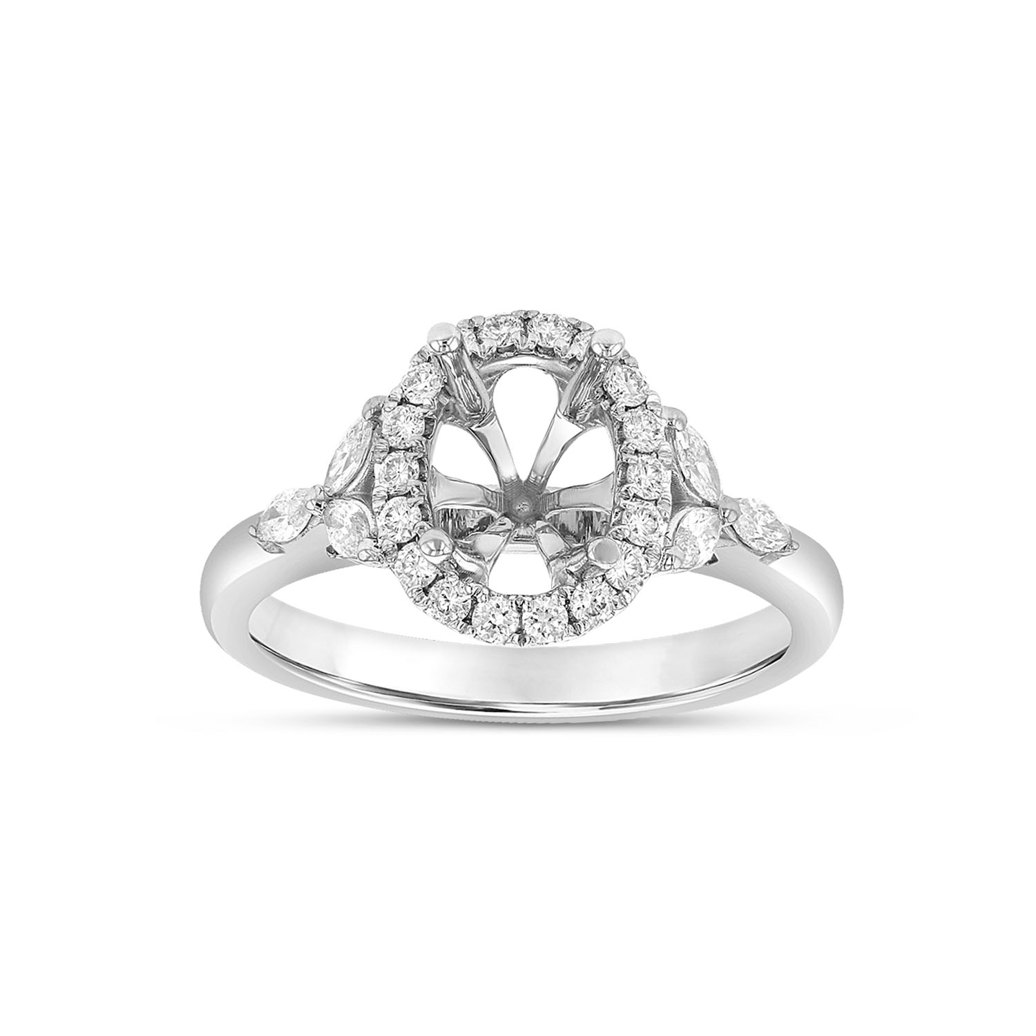 View 0.43ctw Diamond Oval Shaped Semi Mount in 18k White Gold