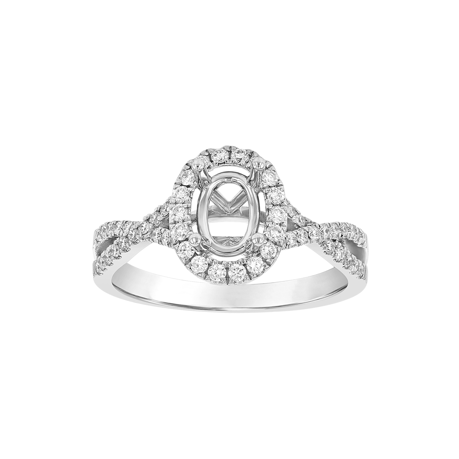 View 0.36ctw Diamond Oval Shaped Semi Mount in 18k White Gold