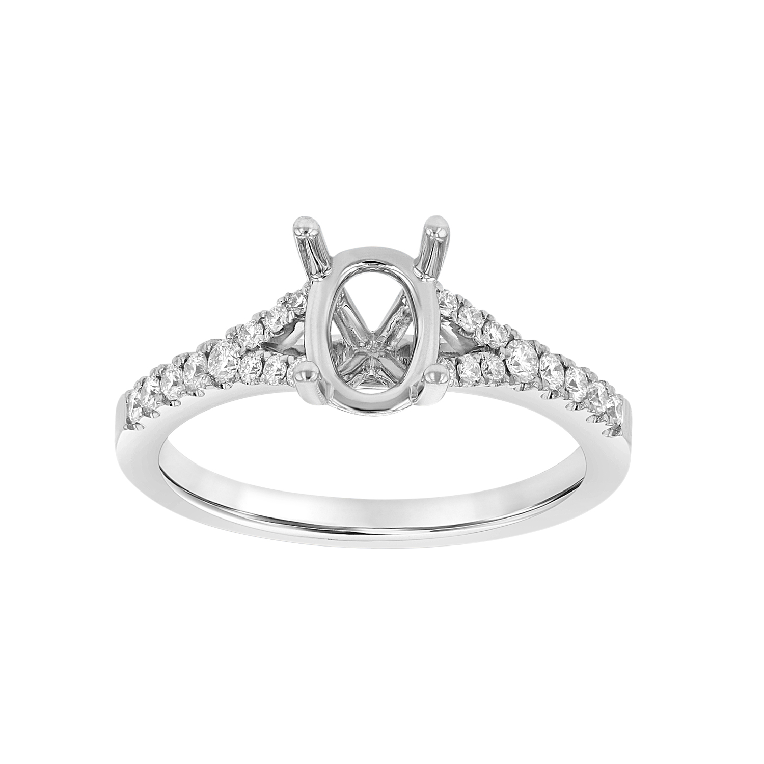 0.28ctw Diamond Semi Mount Engagement Ring in 18k White Gold