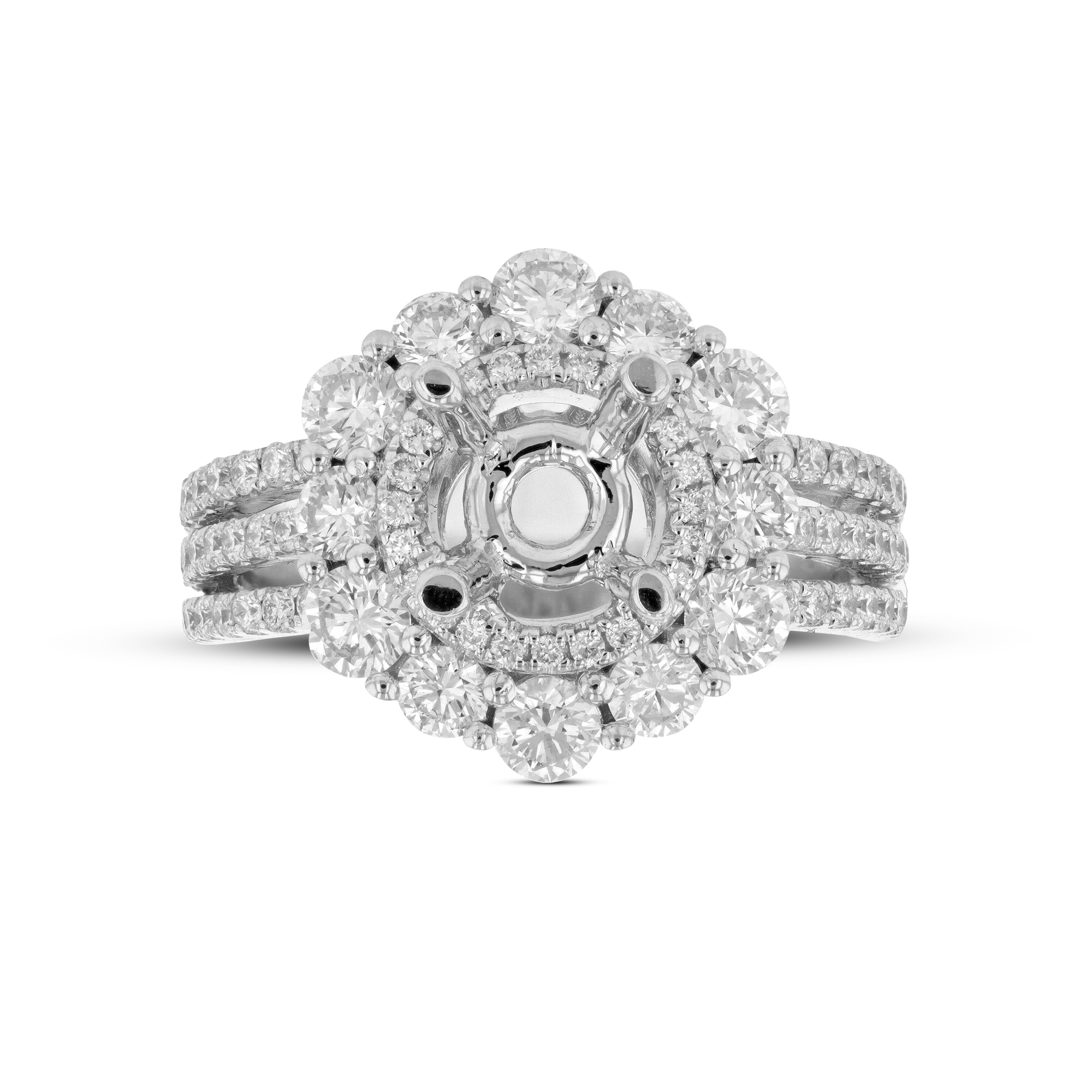 View 1.57ctw Diamond Semi Mount Engagement Ring in 18k White Gold