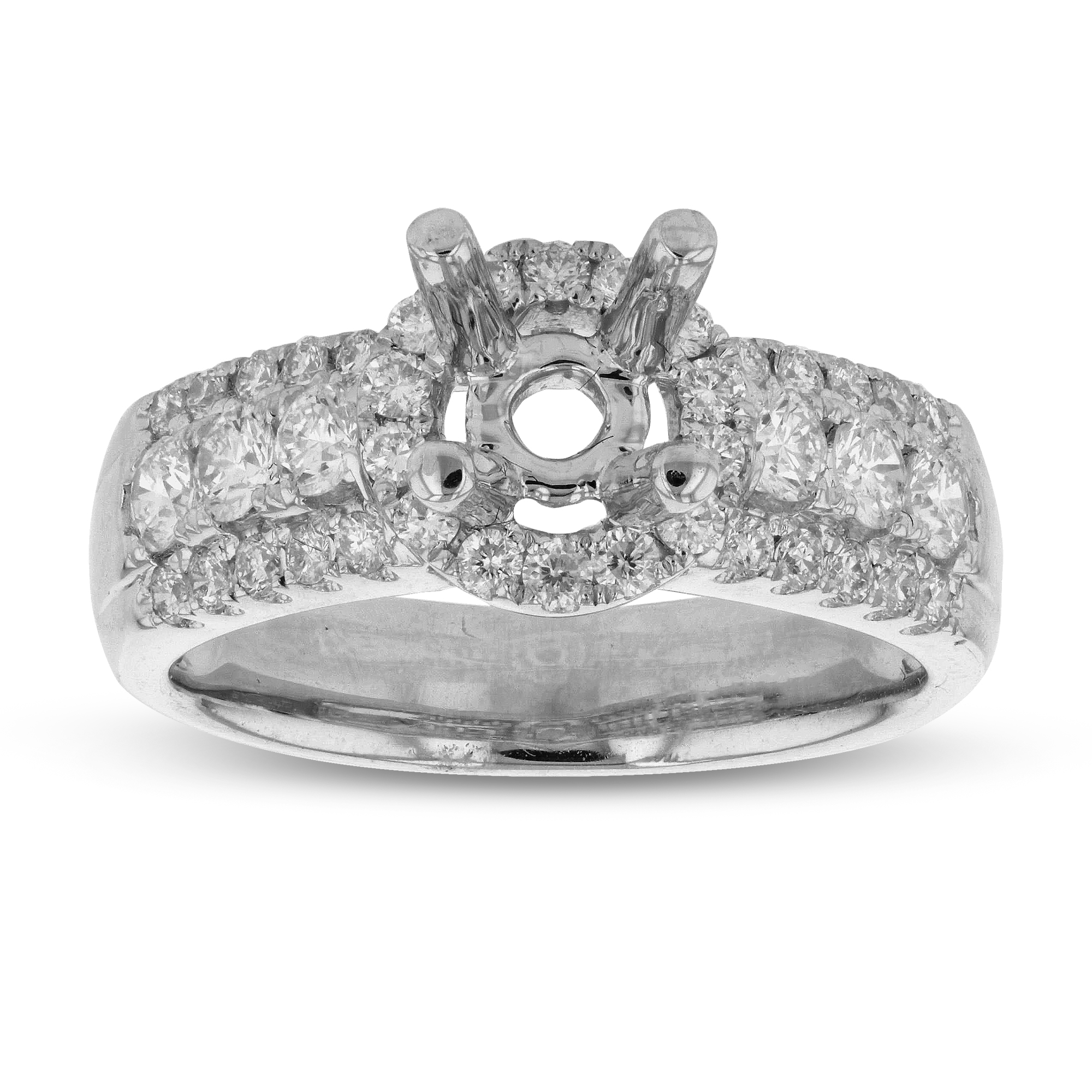 View 0.72ctw Diamonds Semi Mount Engagement Ring in 18k White Gold