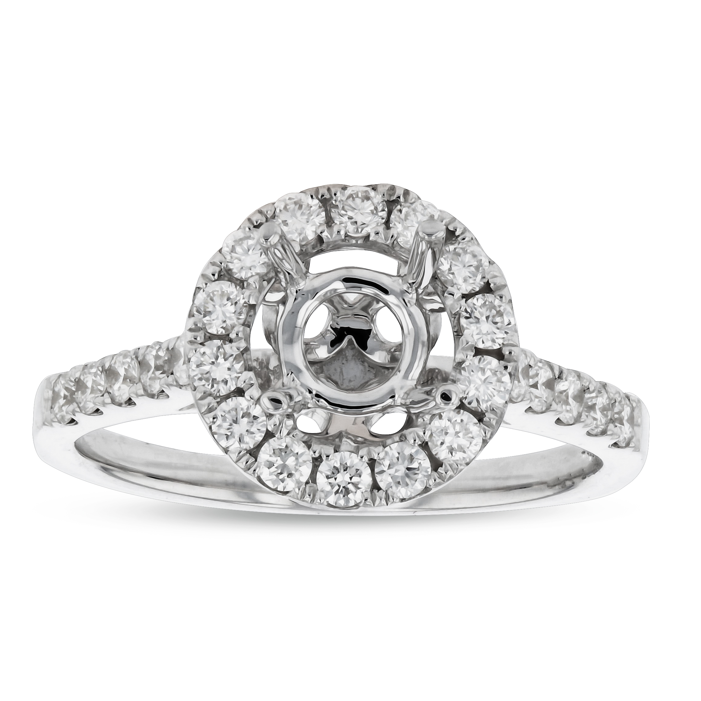 View 0.42ctw Diamond Semi Mount Engagement Ring in 18k White Gold