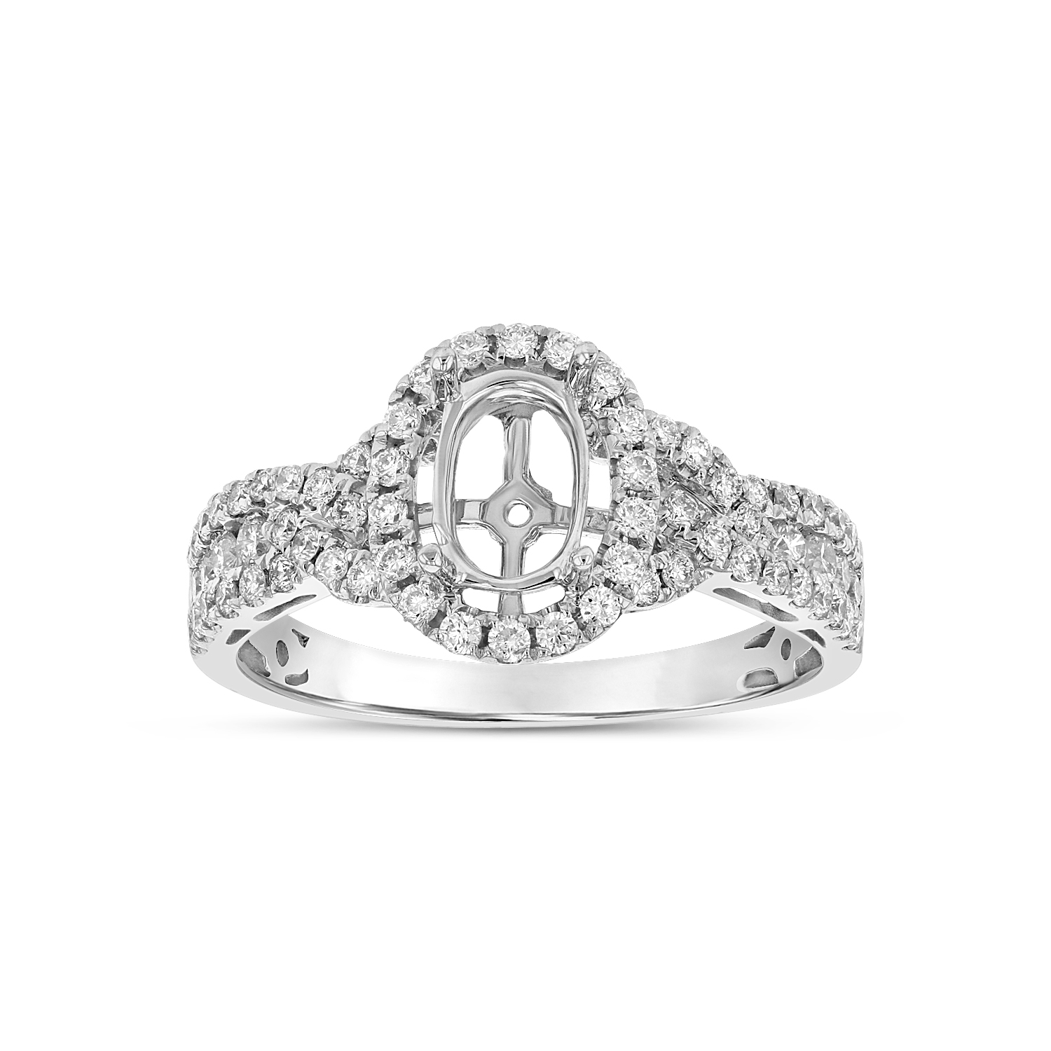 View 0.54ctw Diamond Semi Mount Engagement Ring in 18k White Gold