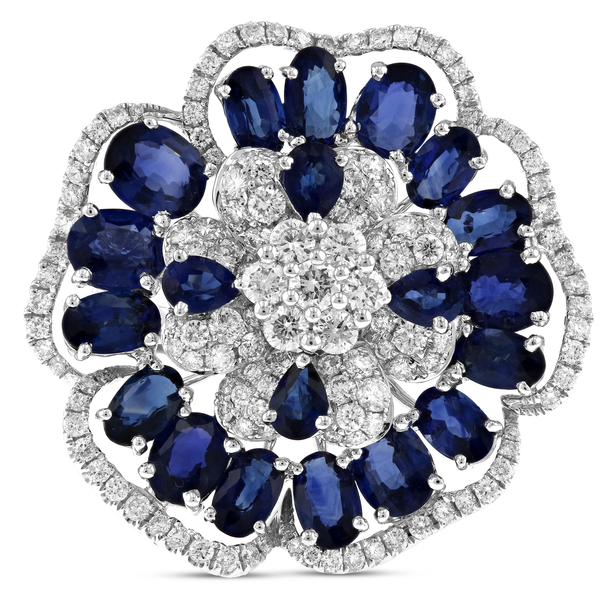View 7.86ctw Diamond and Sapphire Ring in 18k White Gold