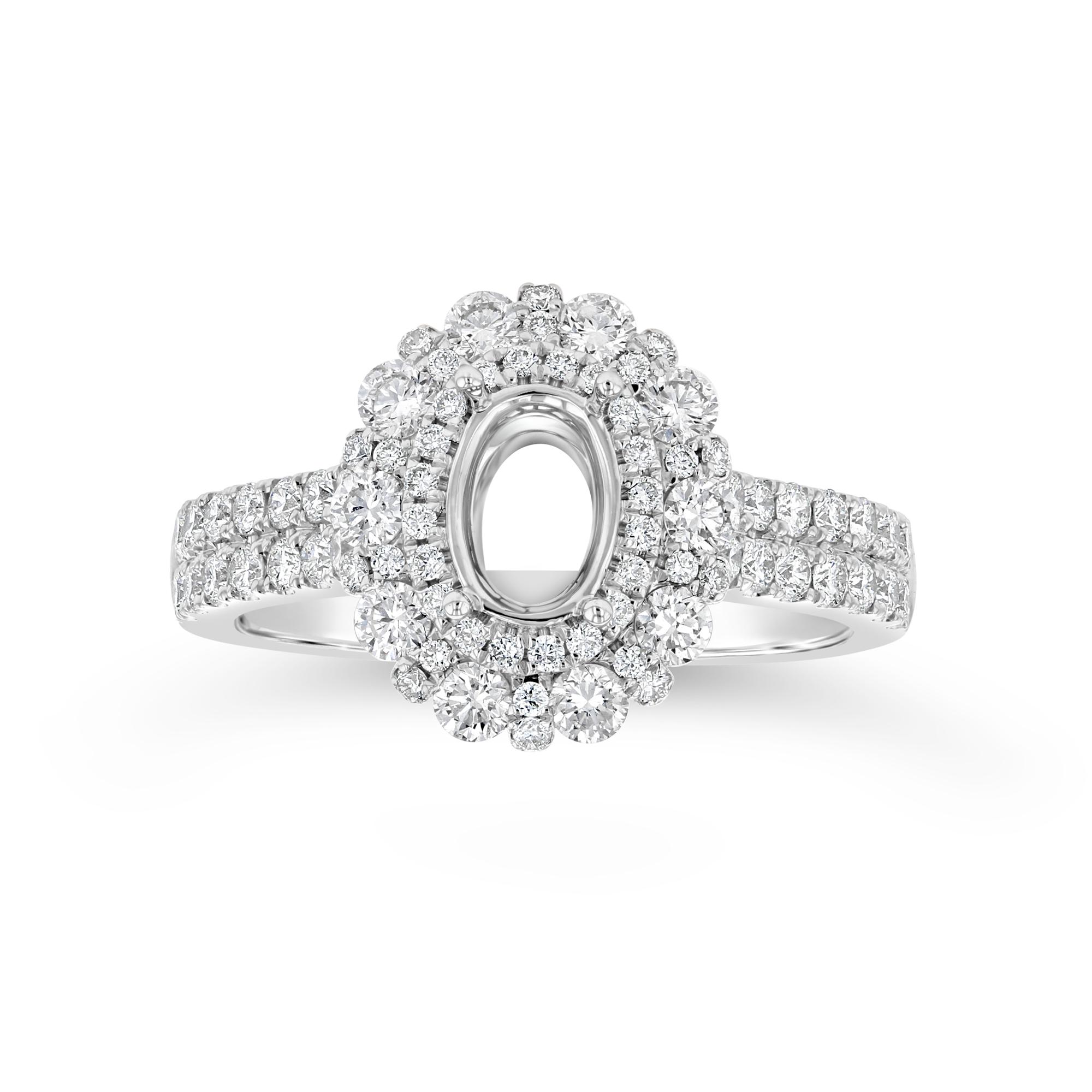 View 0.94ctw Diamond Double Halo Semi Mount Ring in 18k White Gold