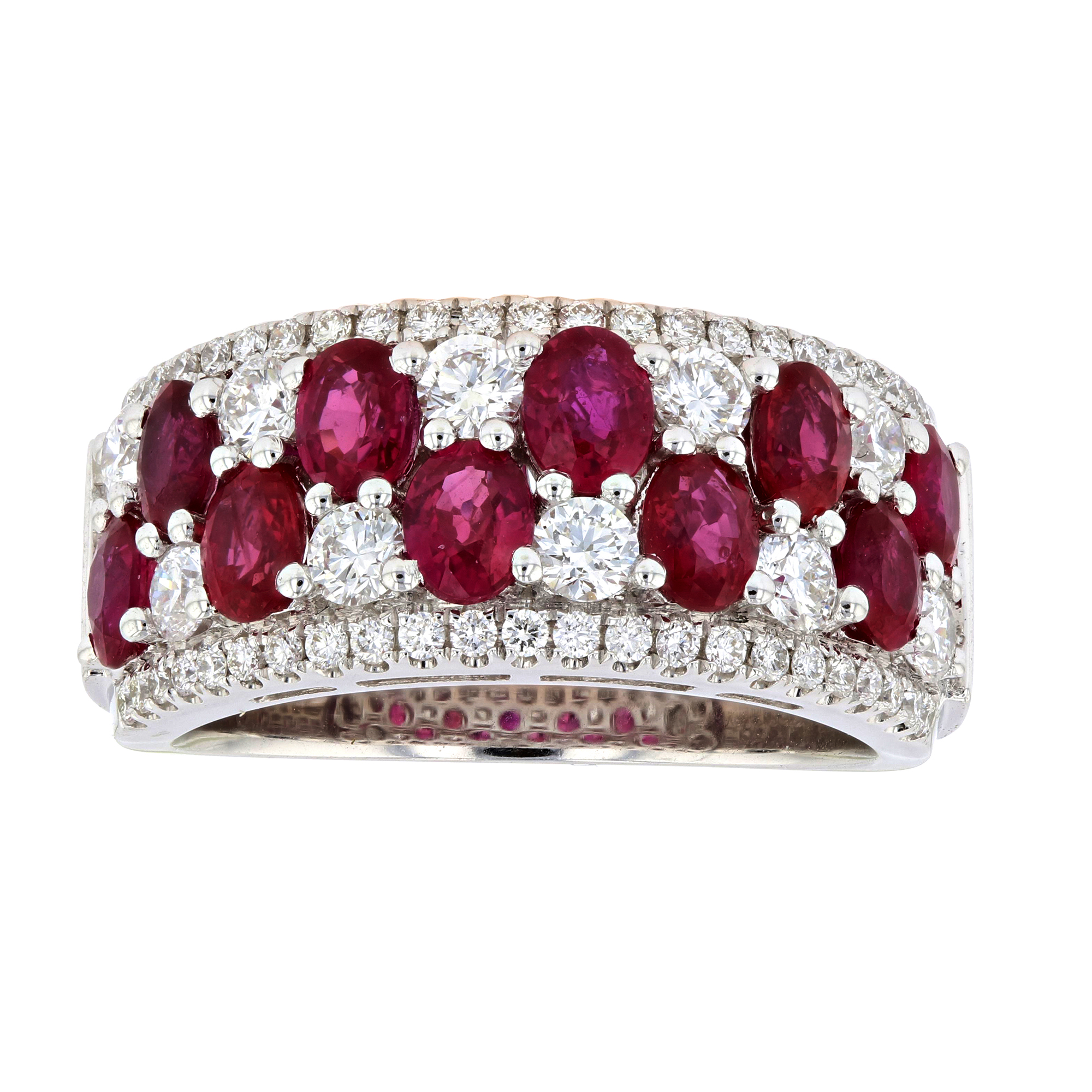 View 3.51ctw Diamond and Ruby Ring in 18k White Gold