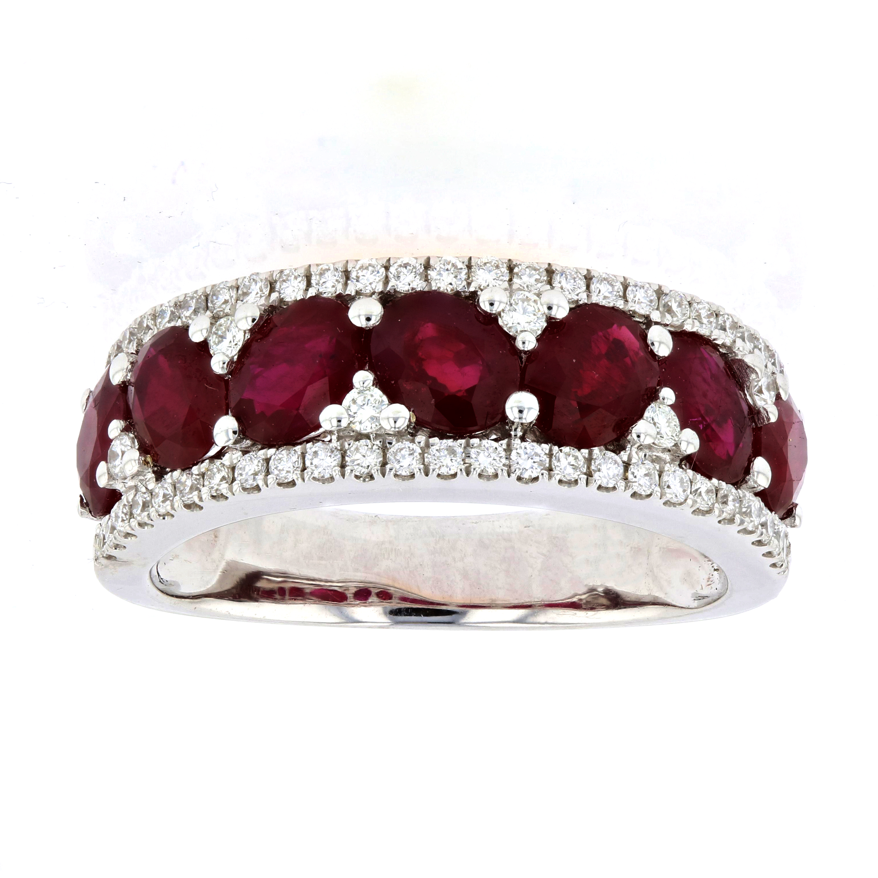 View 3.04ctw Diamond and Ruby RIng in 18k White Gold