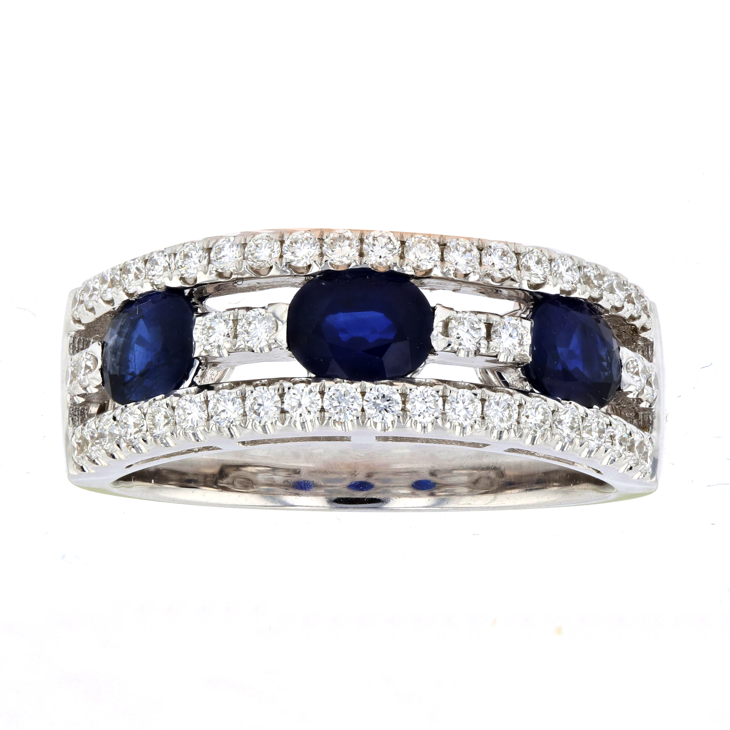 View 1.77ctw Diamond and Sapphire Ring in 18k White Gold